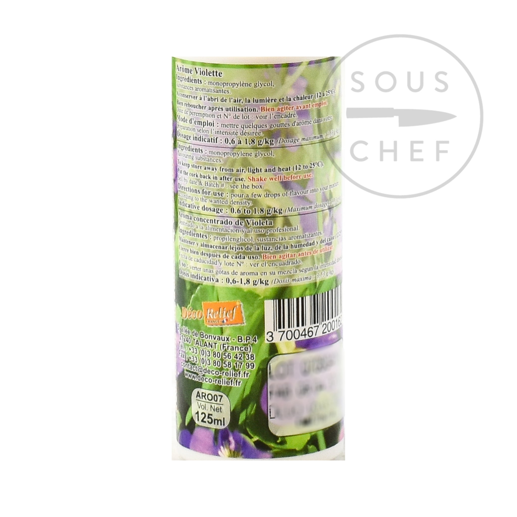 Concentrated Violet Flavour 125ml ingredients