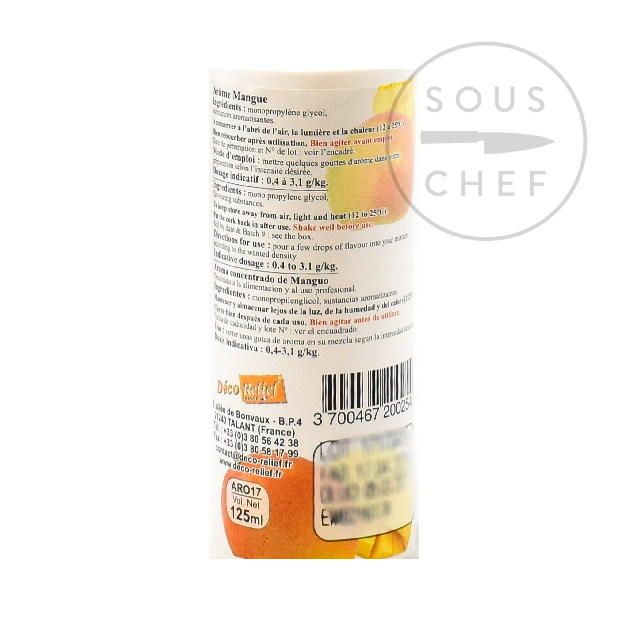 Concentrated Mango Flavour 125ml ingredients