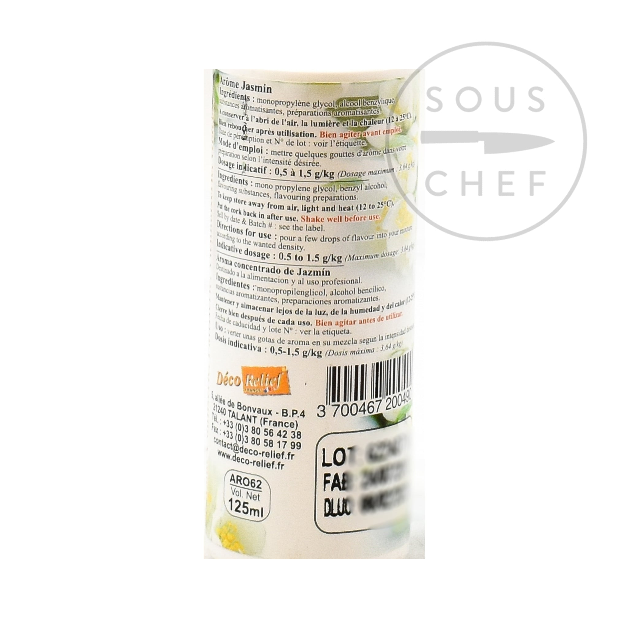 Concentrated Jasmine Flavour 125ml  ingredients
