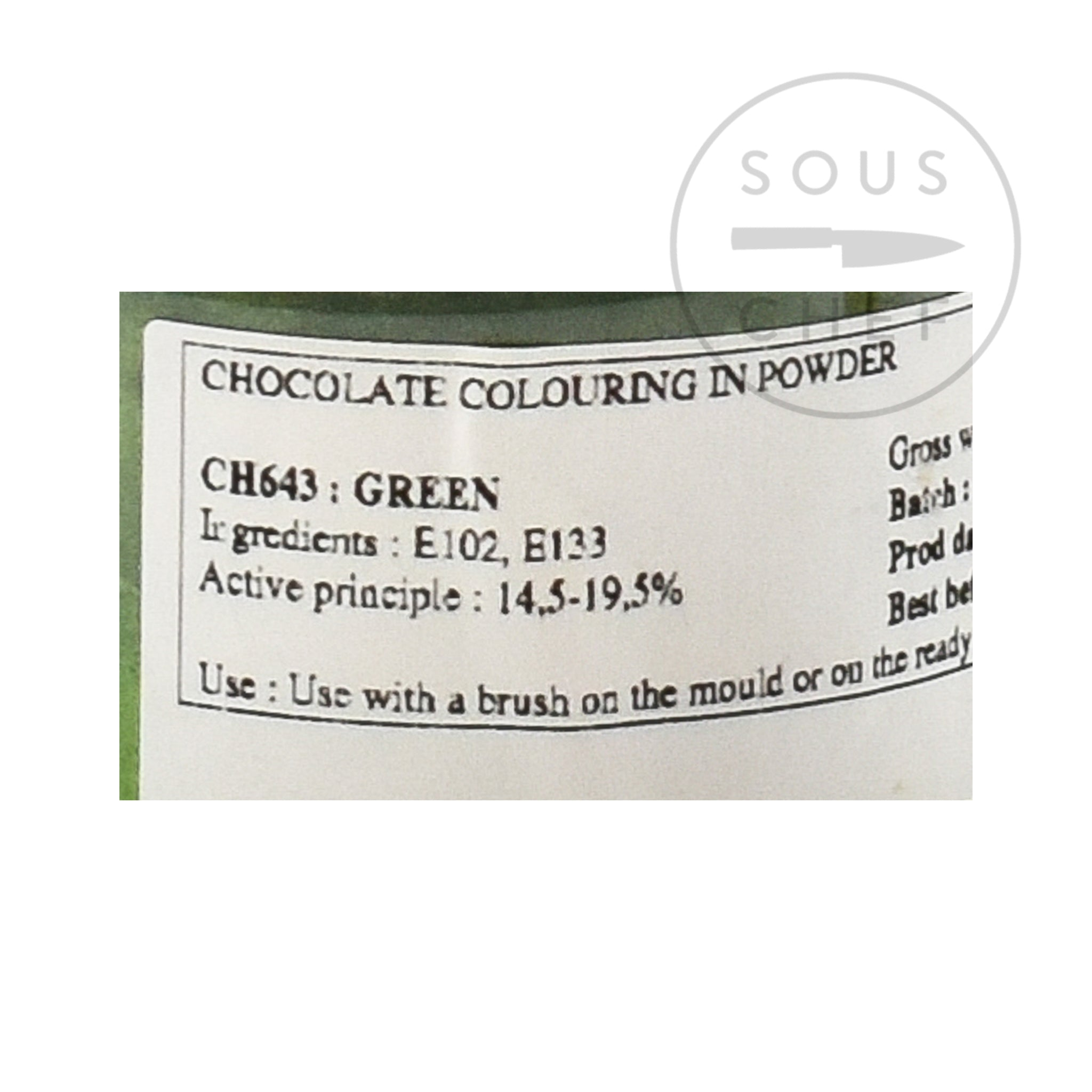 Green Gloss Food Colour For Chocolate 20 g ingredients