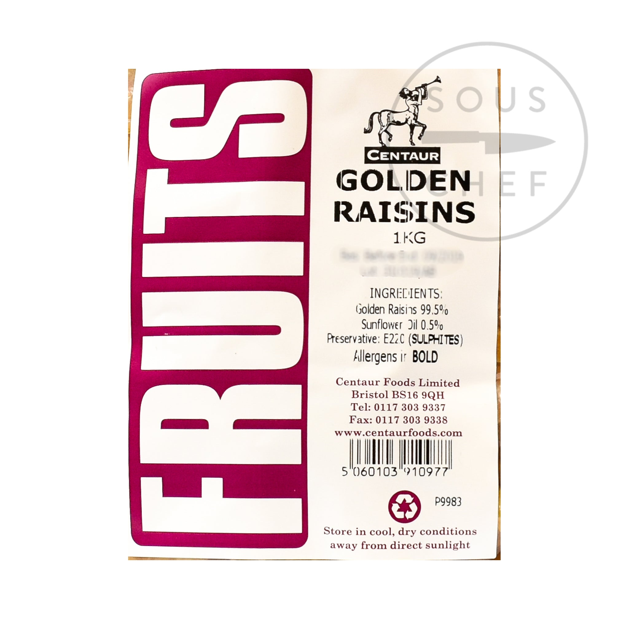 Golden Raisins 1kg ingredients