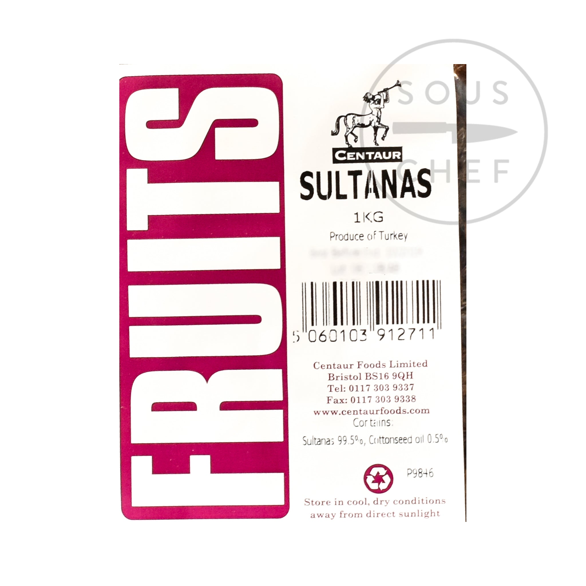 Sultanas 1kg ingredients