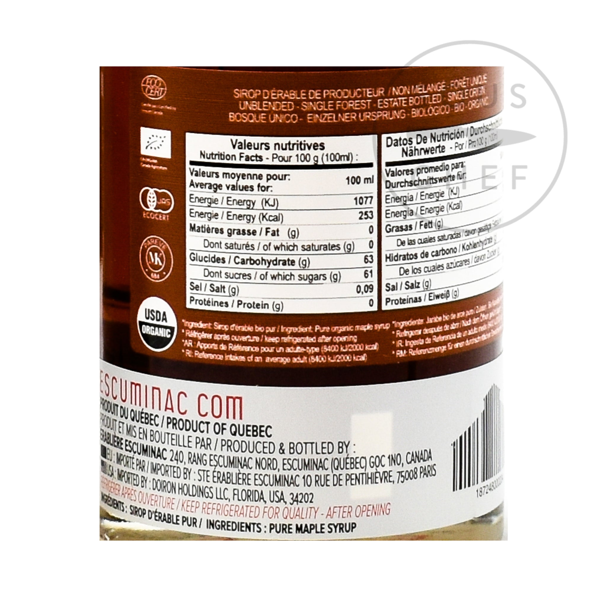 Escuminac Great Harvest Medium Maple Syrup 200ml nutritional information ingredients