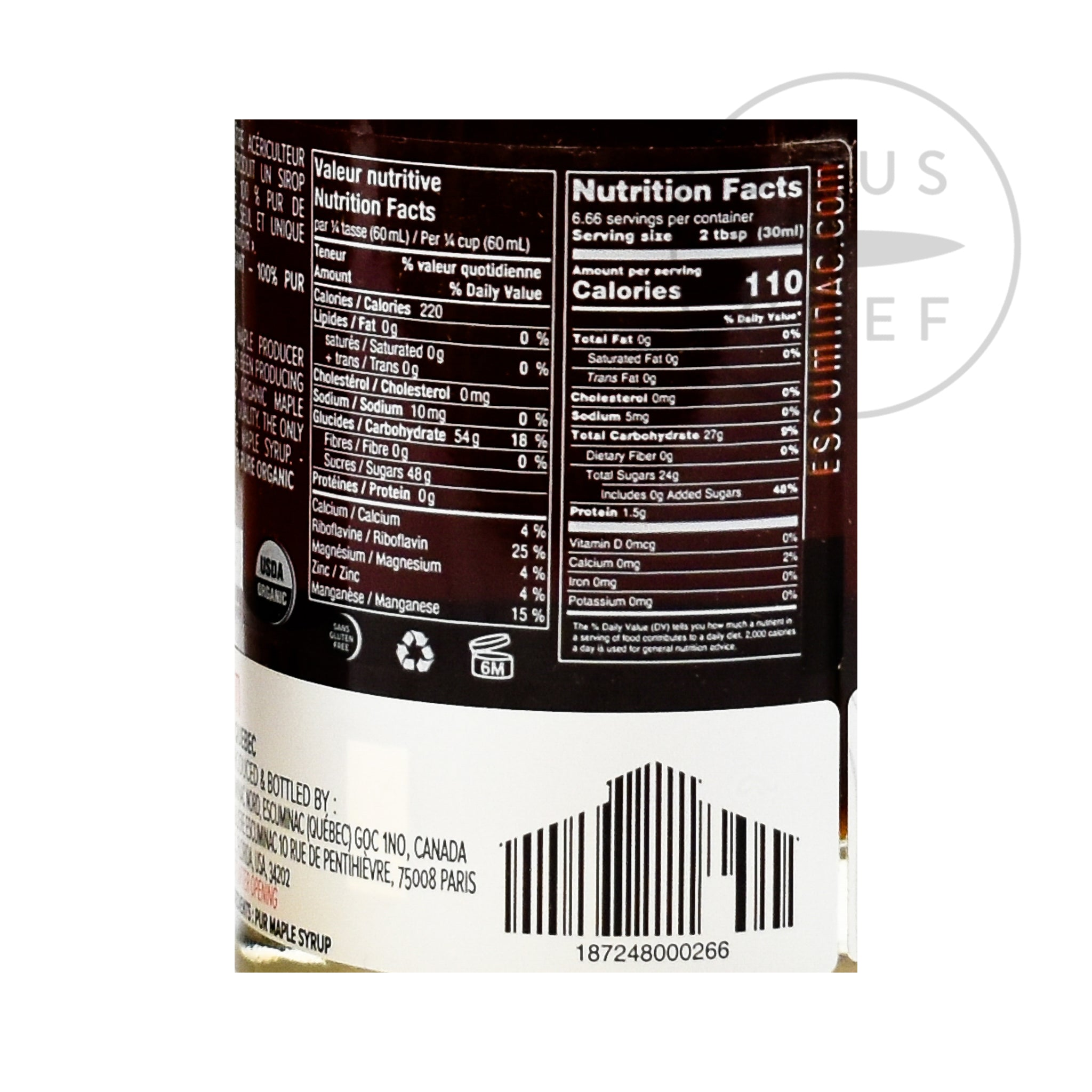 Escuminac Late Harvest Amber Maple Syrup 200ml nutritional information ingredients