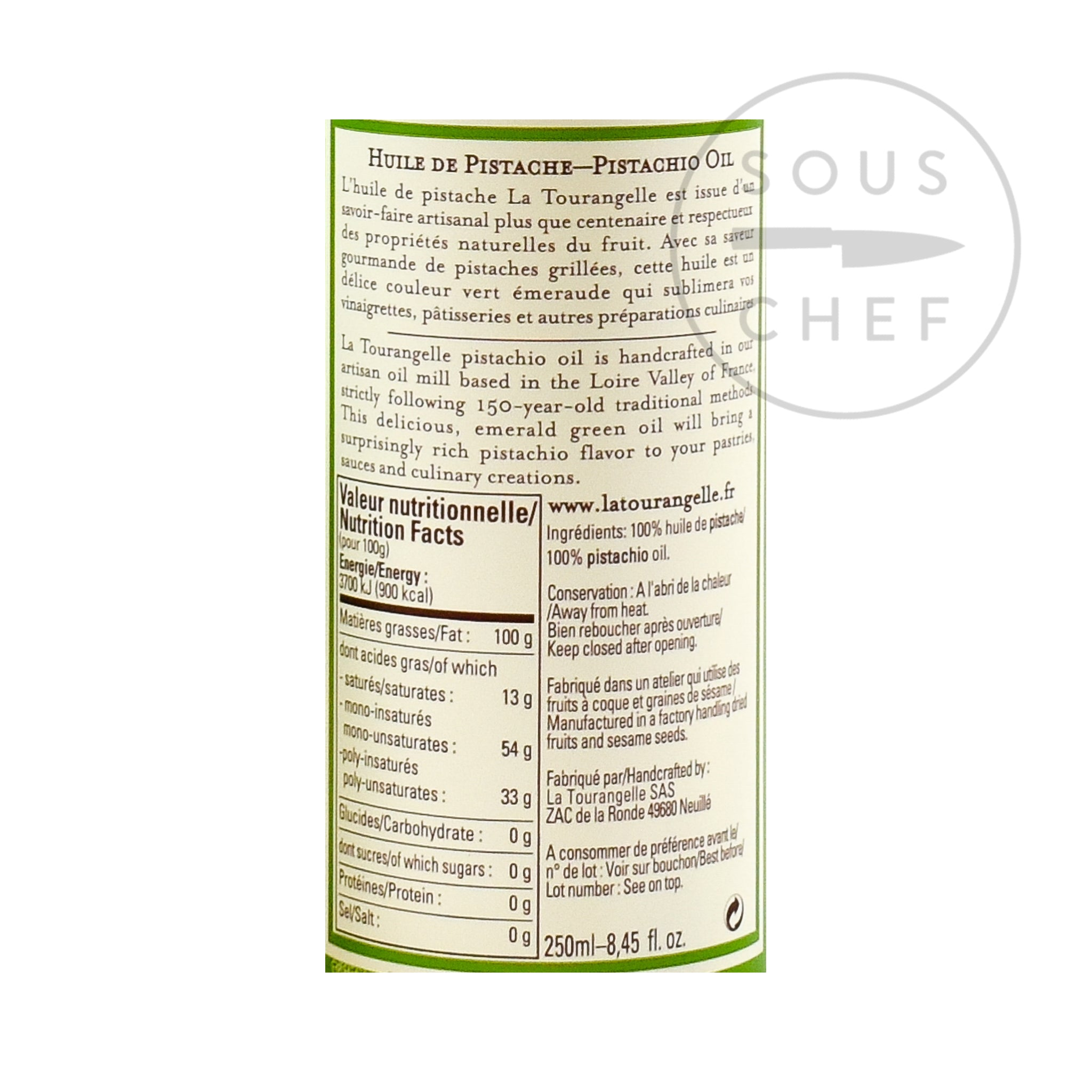 Pistachio Oil 250ml nutritional information ingredients