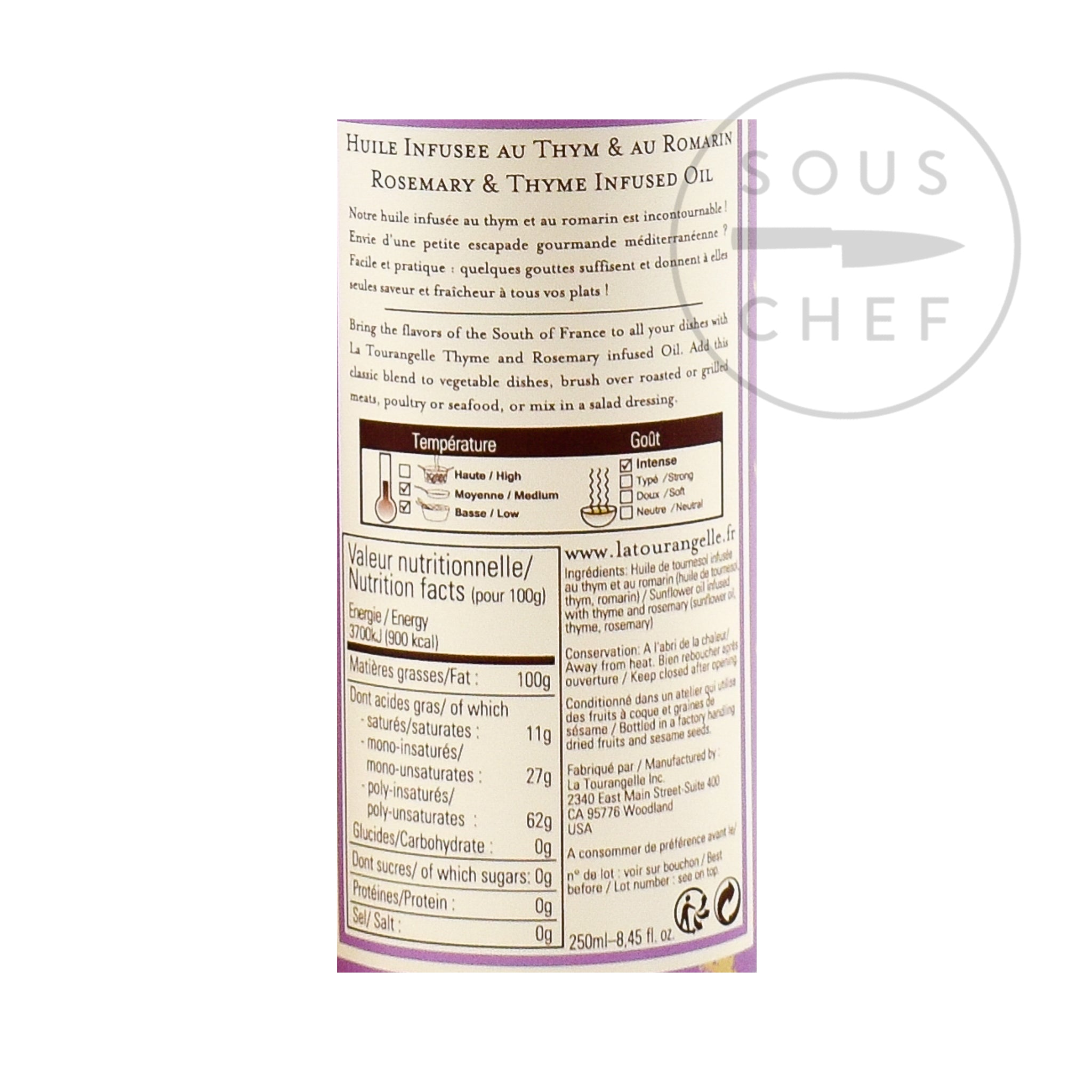 Thyme & Rosemary Oil 250ml nutritional information ingredients