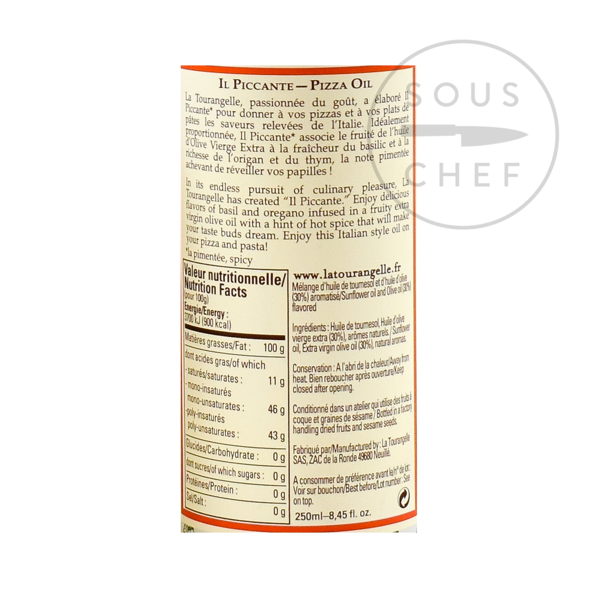 Il Piccante Chilli Oil 250ml nutritional information ingredients