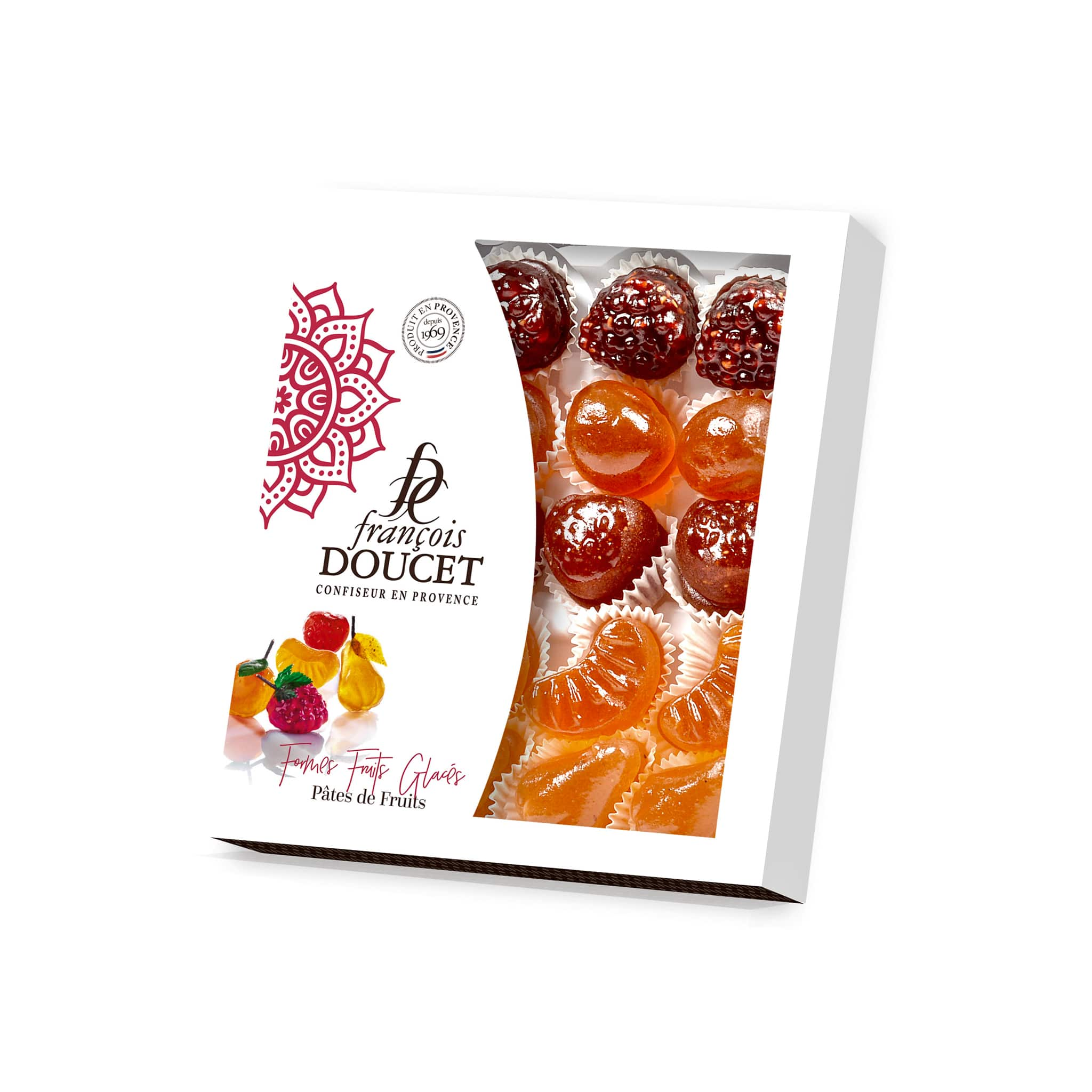 francois doucet glazed fruit jellies box white background