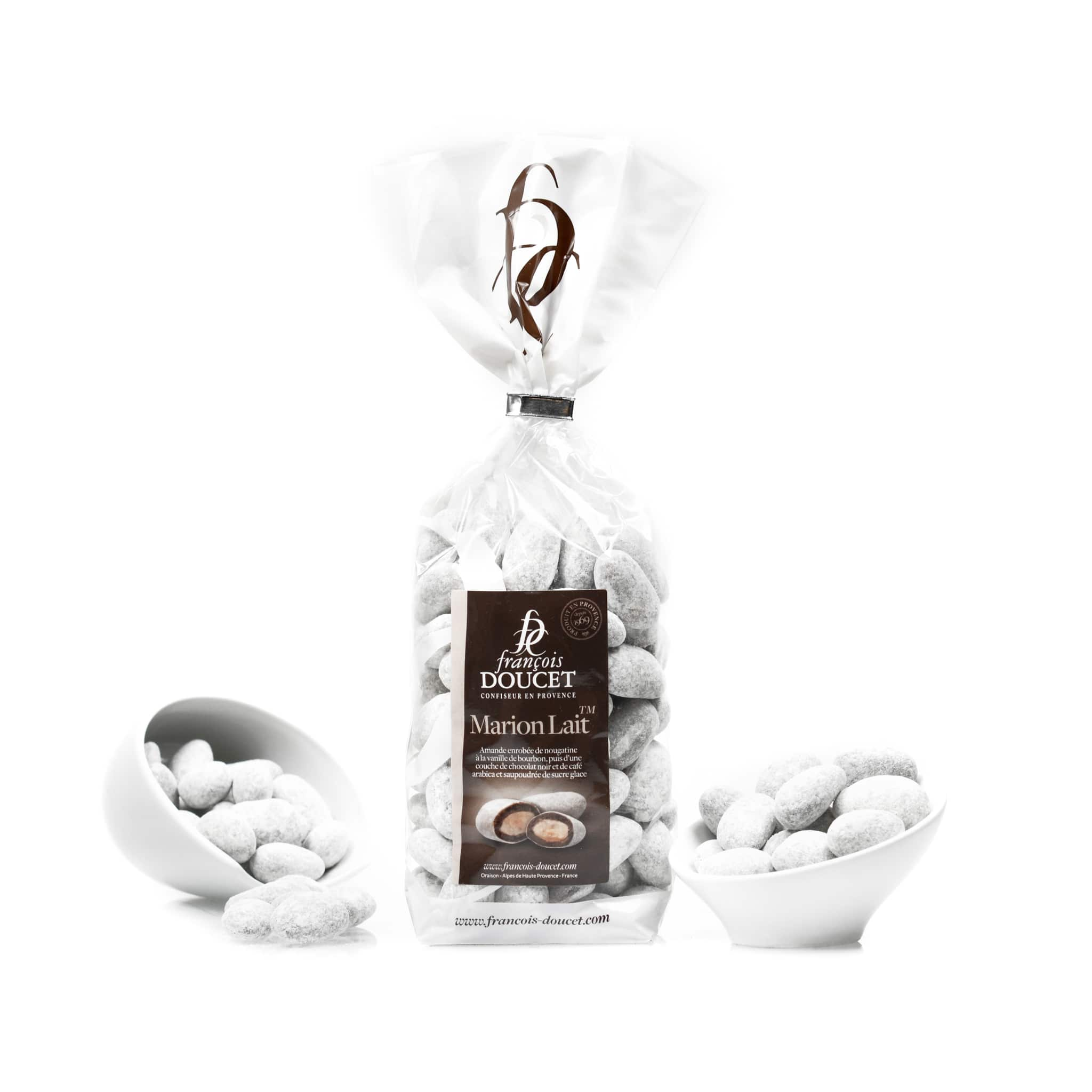 francois doucet coffee chocolate pralines white background
