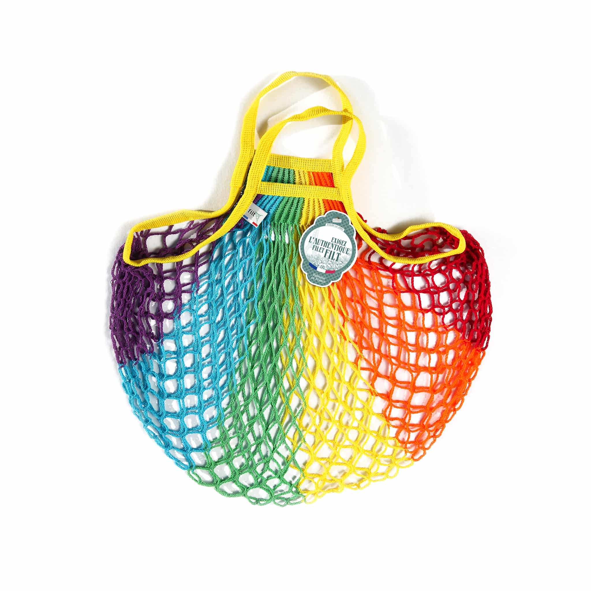 filt rainbow bag on white background