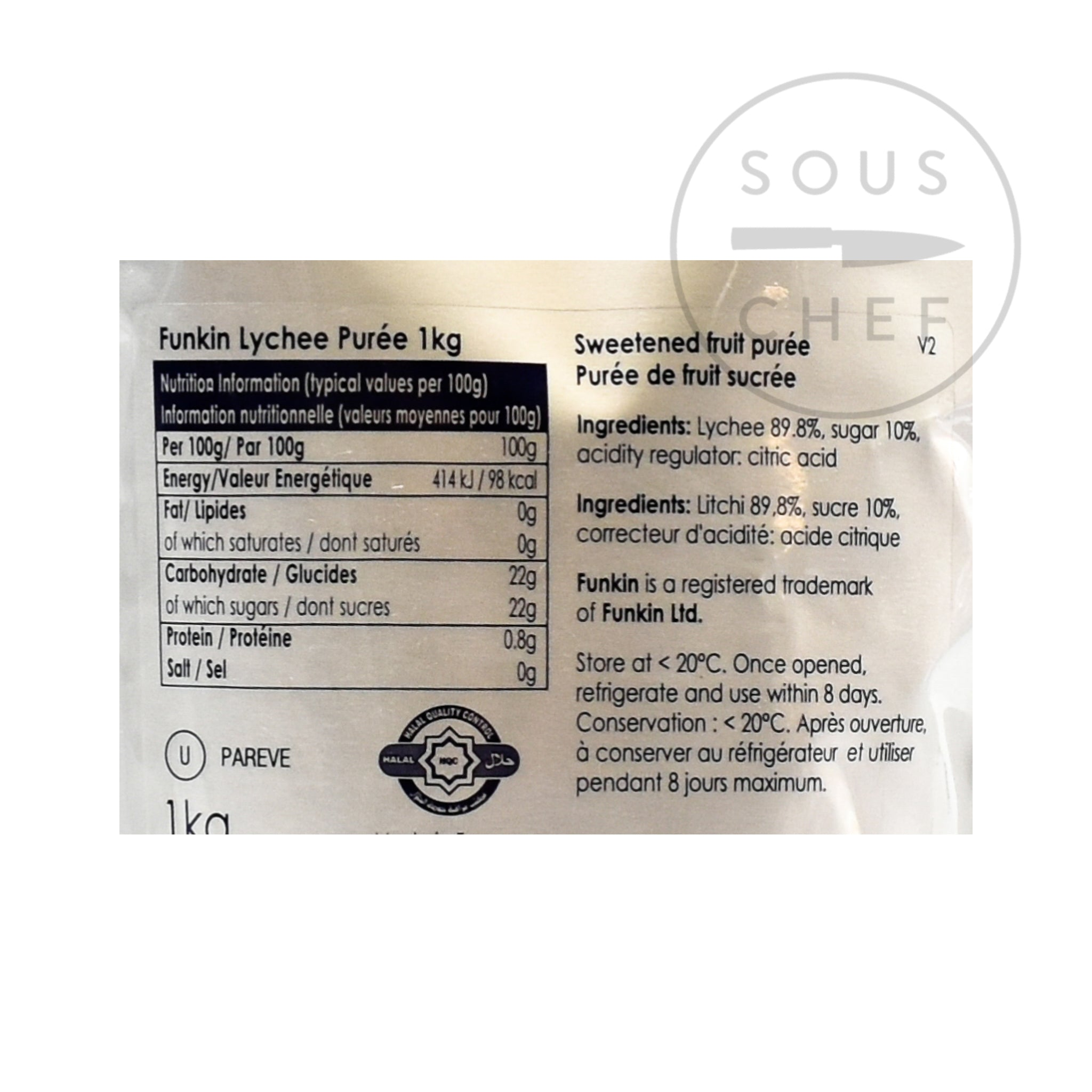 Funkin Lychee Puree 1kg nutritional information ingredients