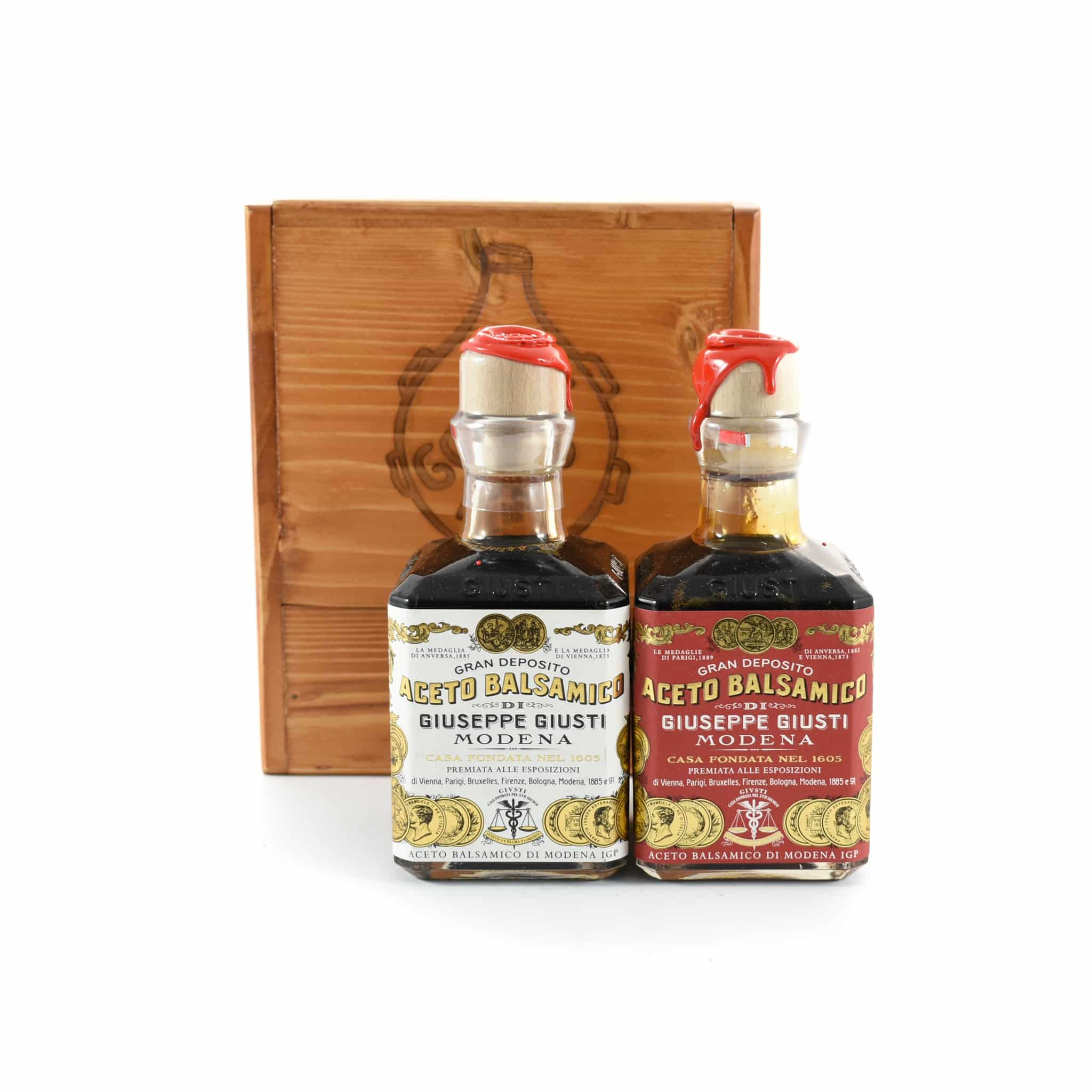 Giuseppe Giusti Duetto Balsamic Vinegar Wooden Gift Box