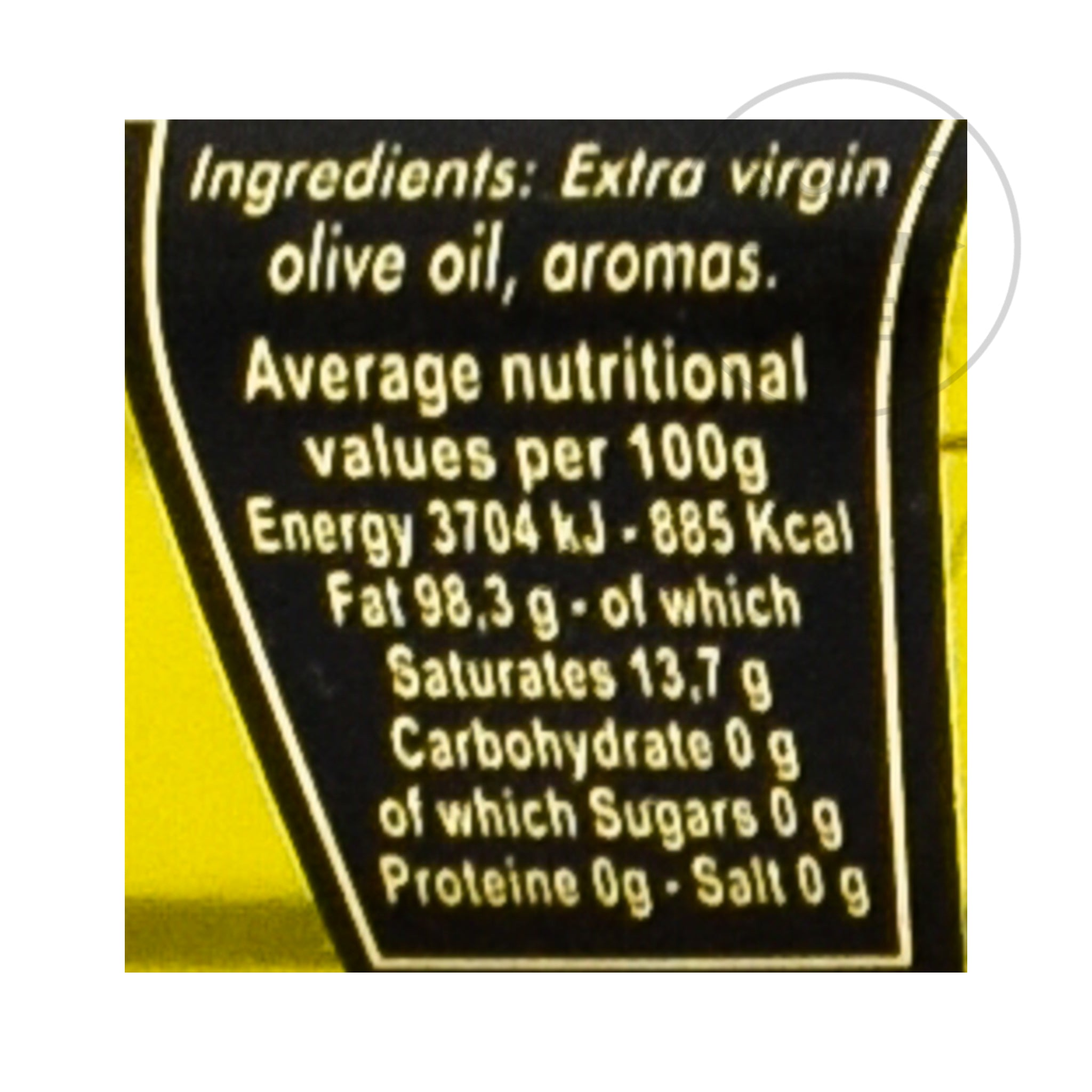 Black Truffle Oil 100ml nutritional information ingredients