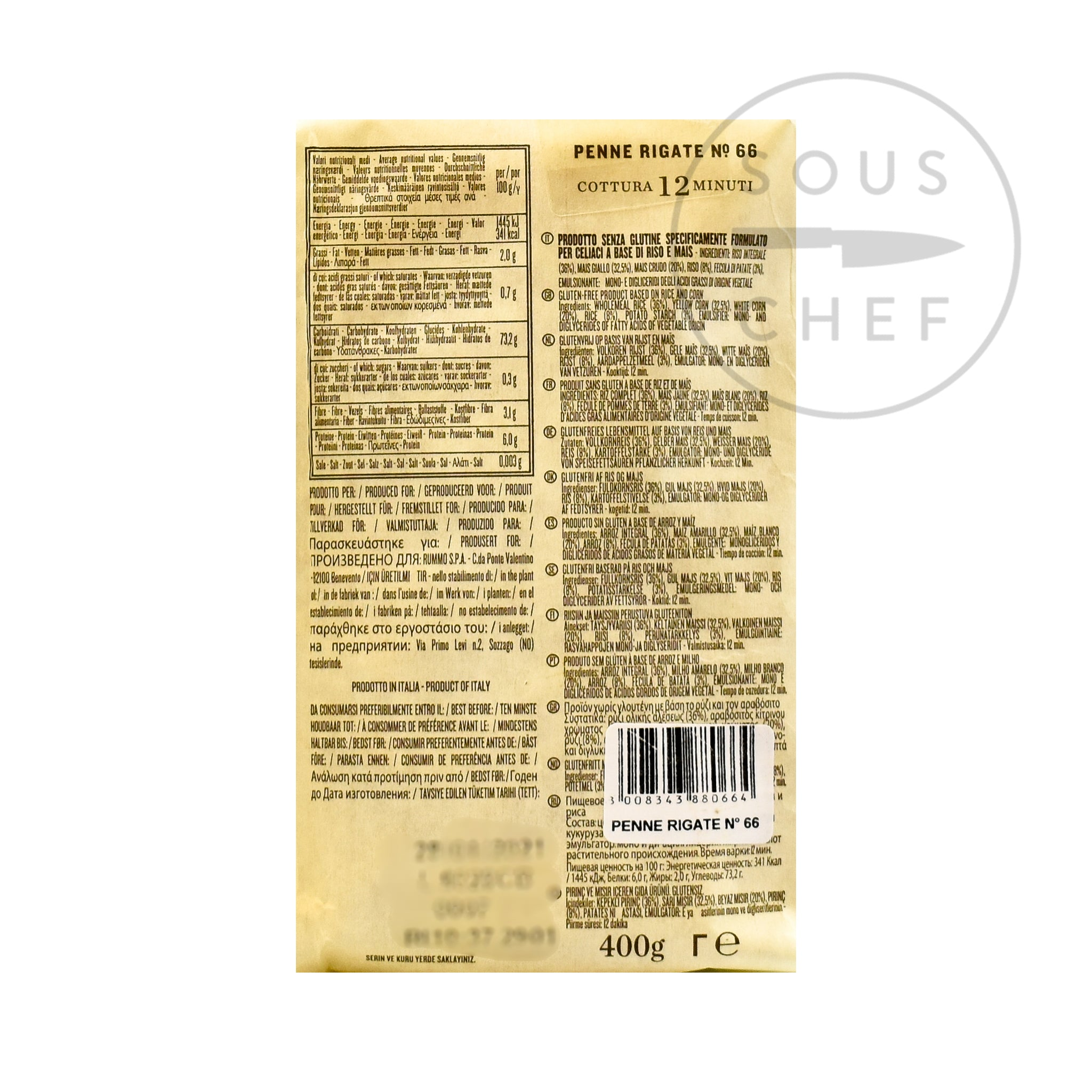 Rummo Gluten Free Penne Rigate 400g nutritional information ingredients