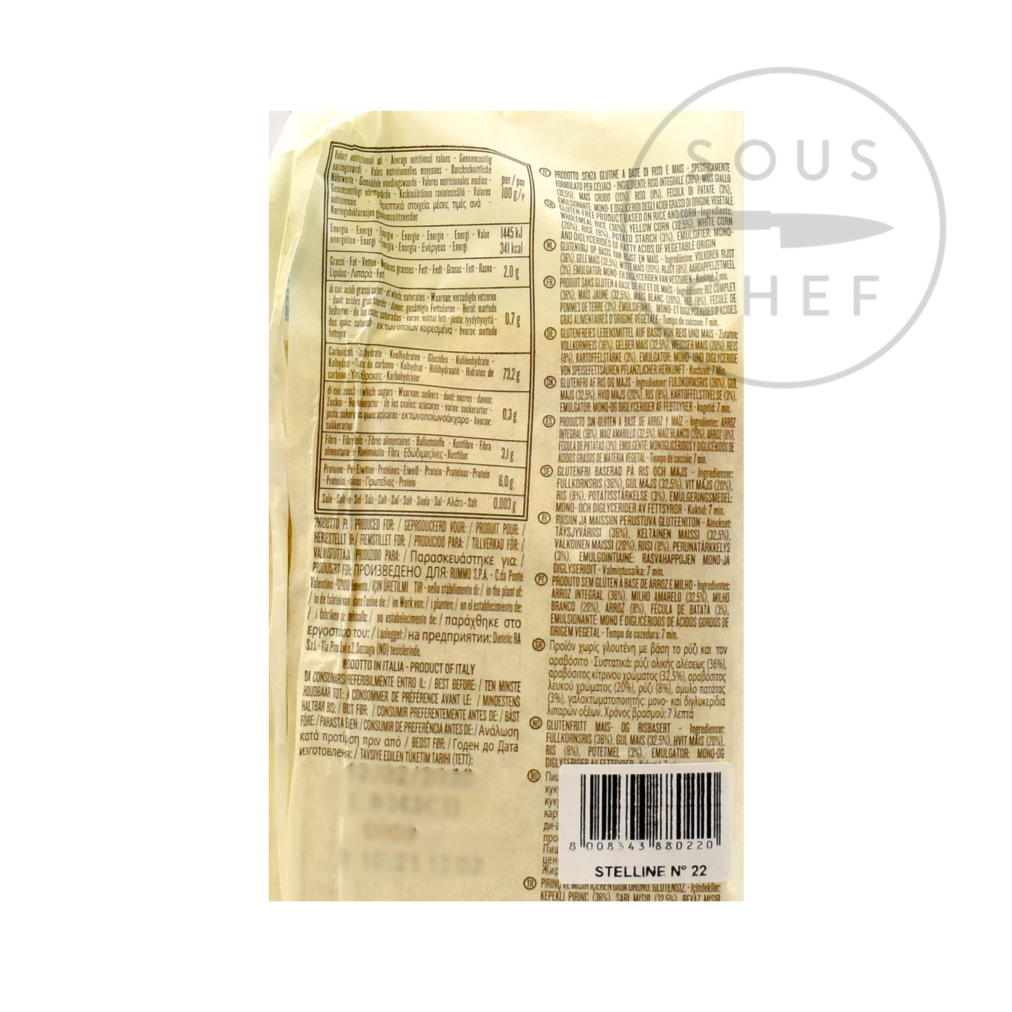 Rummo Gluten Free Stellini 400g nutritional information ingredients
