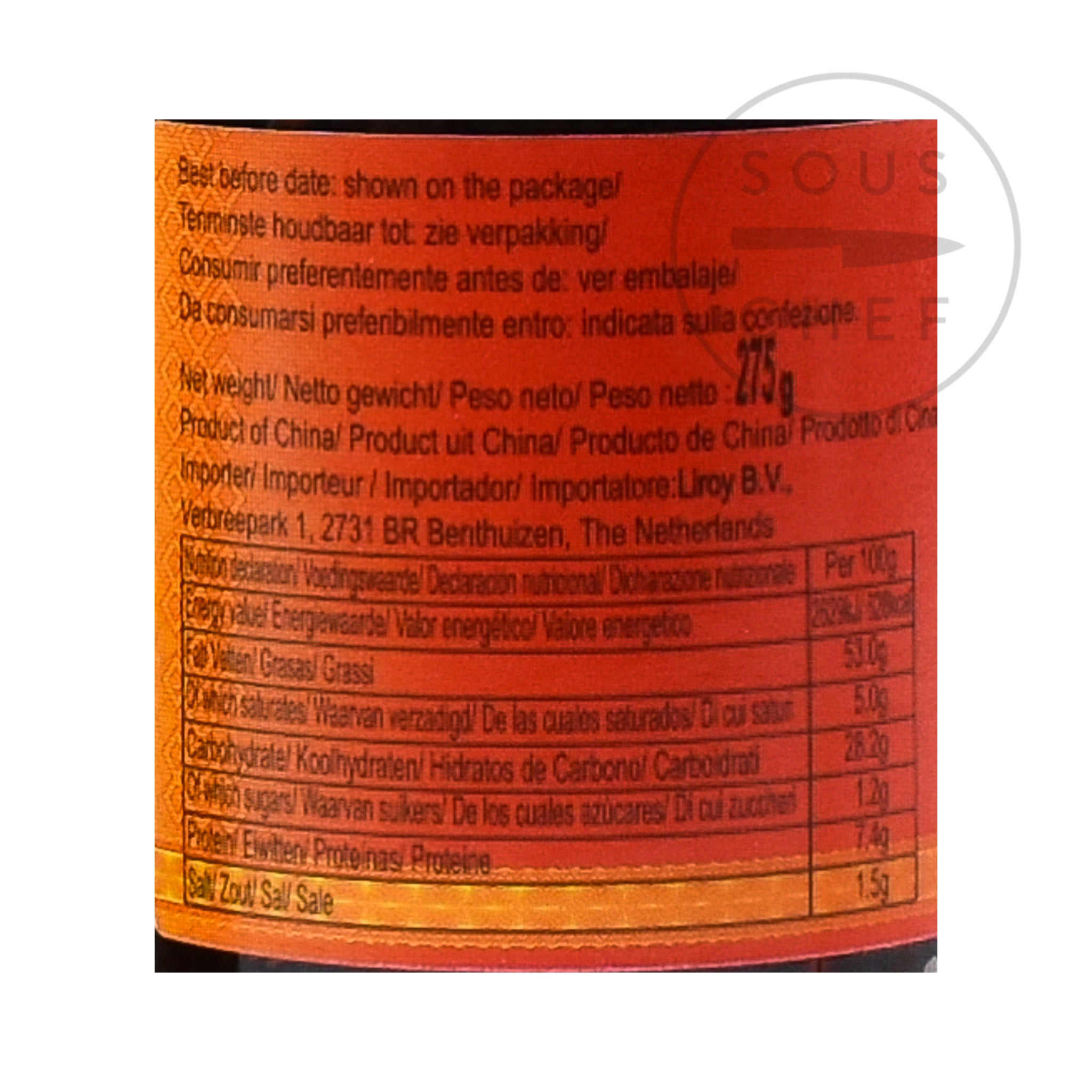 LGM Chilli Oil - With Peanuts 275g nutritional information