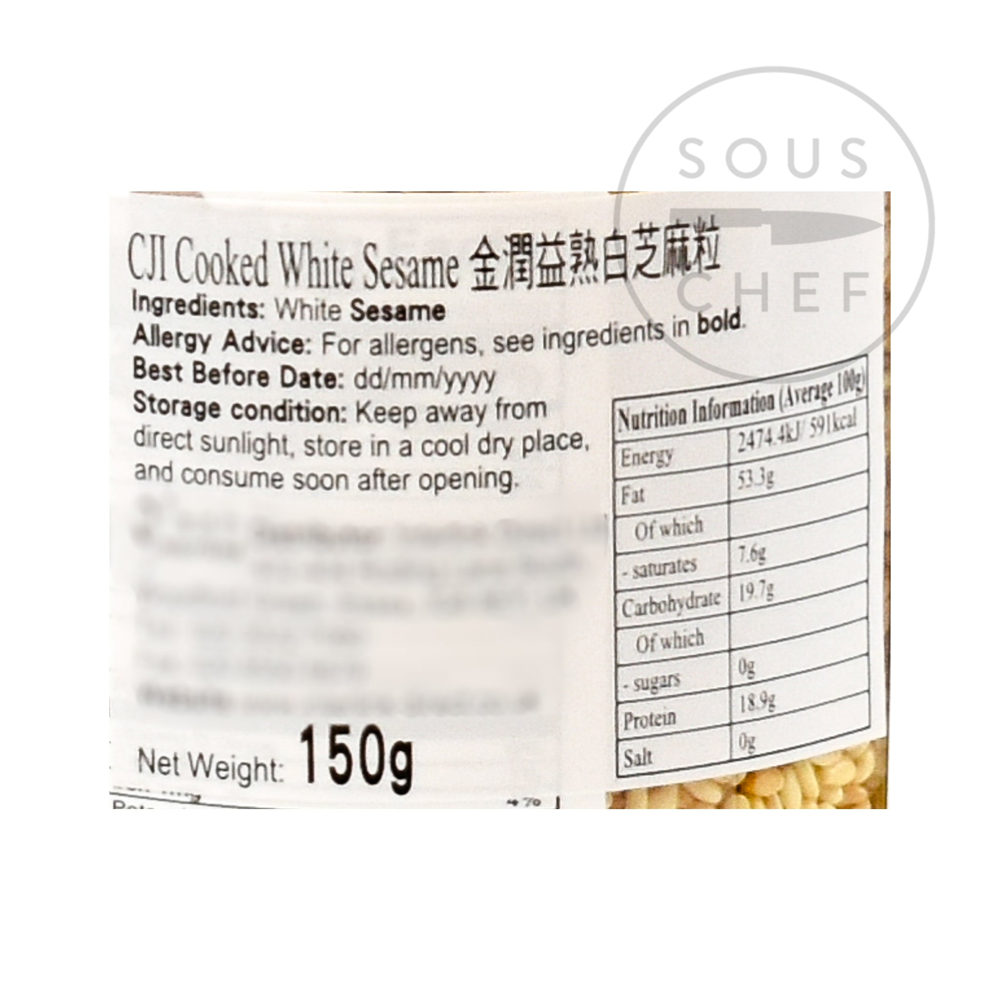Toasted White Sesame Seeds 150g nutritional information ingredients
