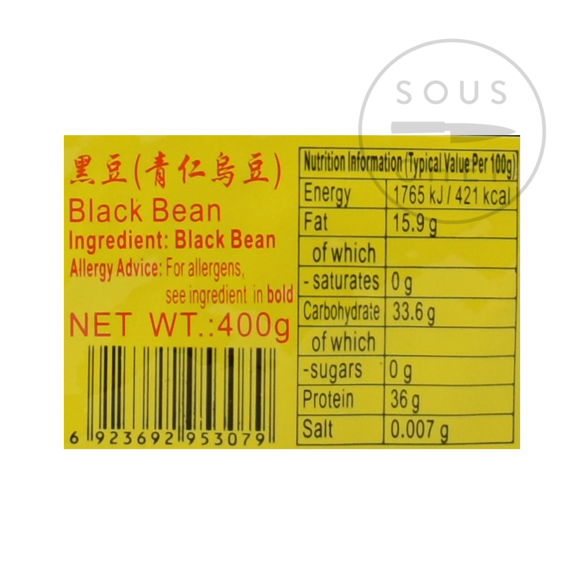 Chinese Black Beans 400g nutritional information ingredients