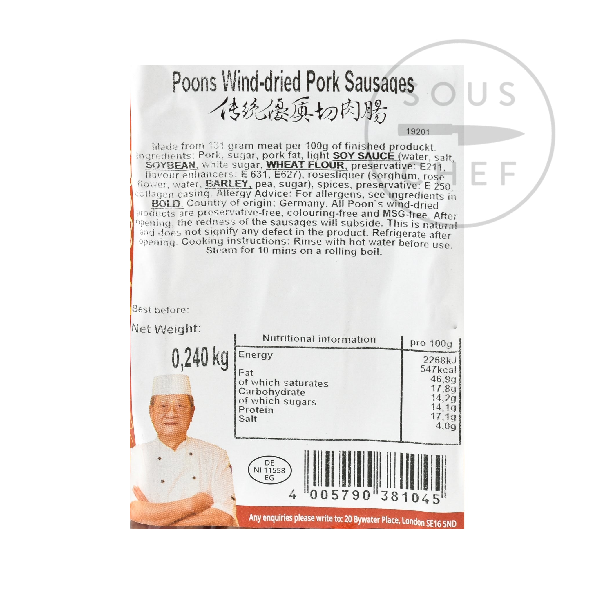 Poon's Chinese Wind-Dried Pork Sausage 240g nutritional information ingredients
