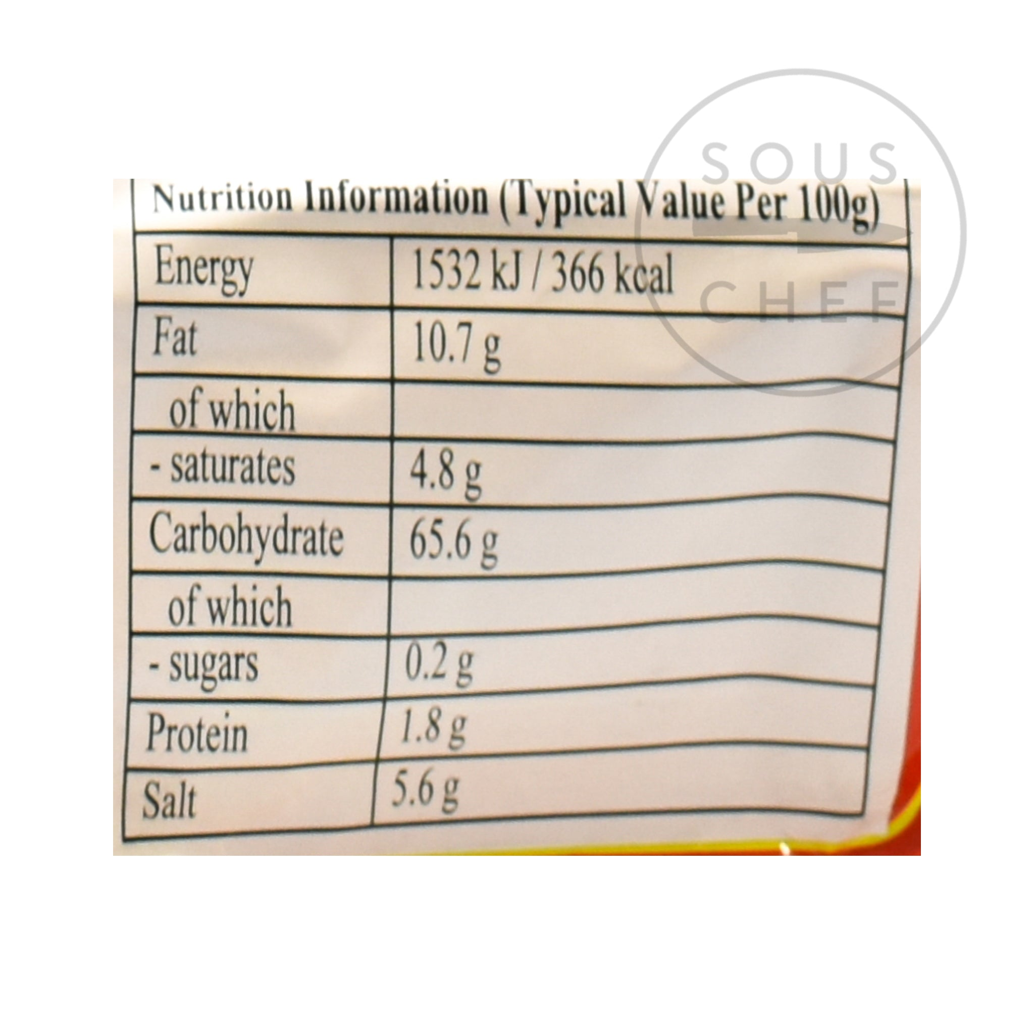 Instant Potato Vermicelli Noodles - Sour Hot 5 Packs 525g nutritional information