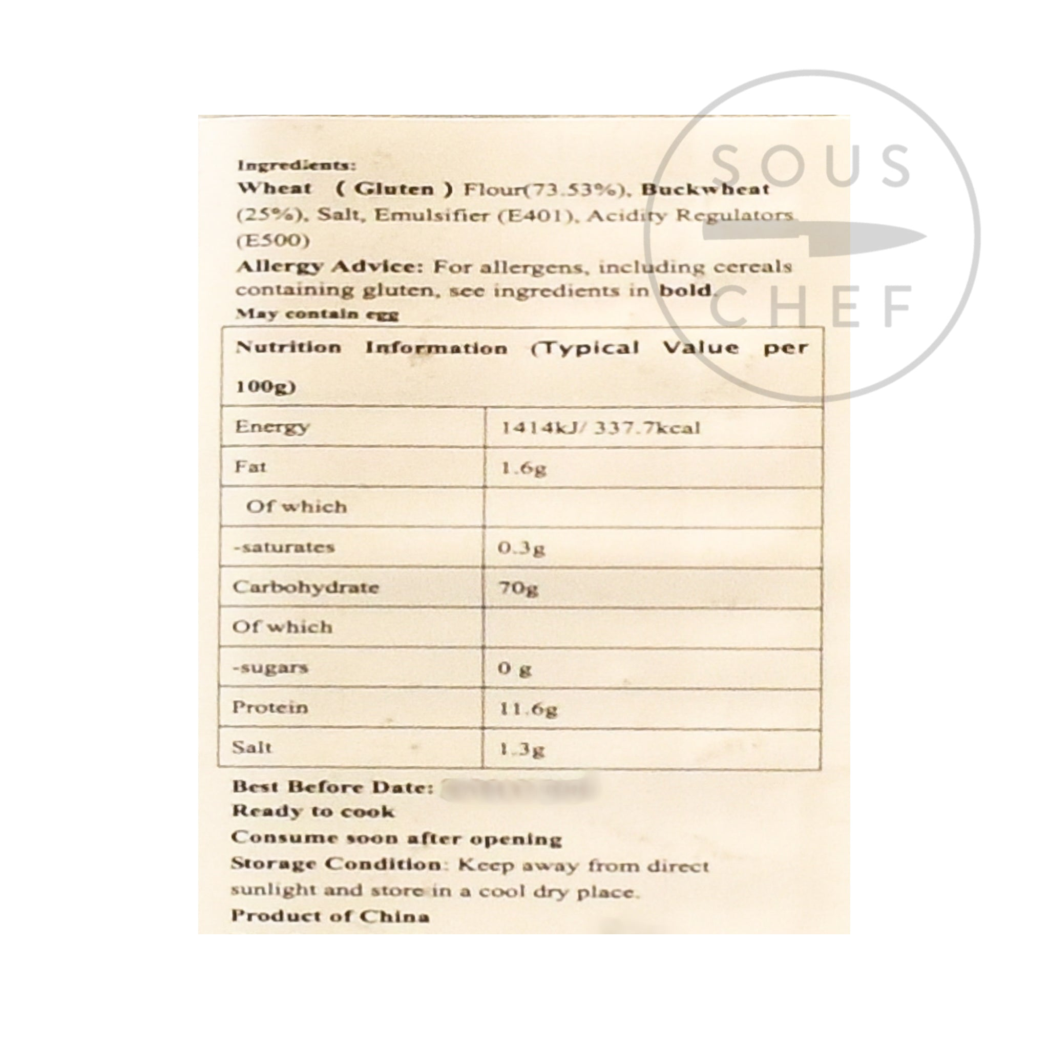 Buckwheat Noodles 908g nutritional information ingredients