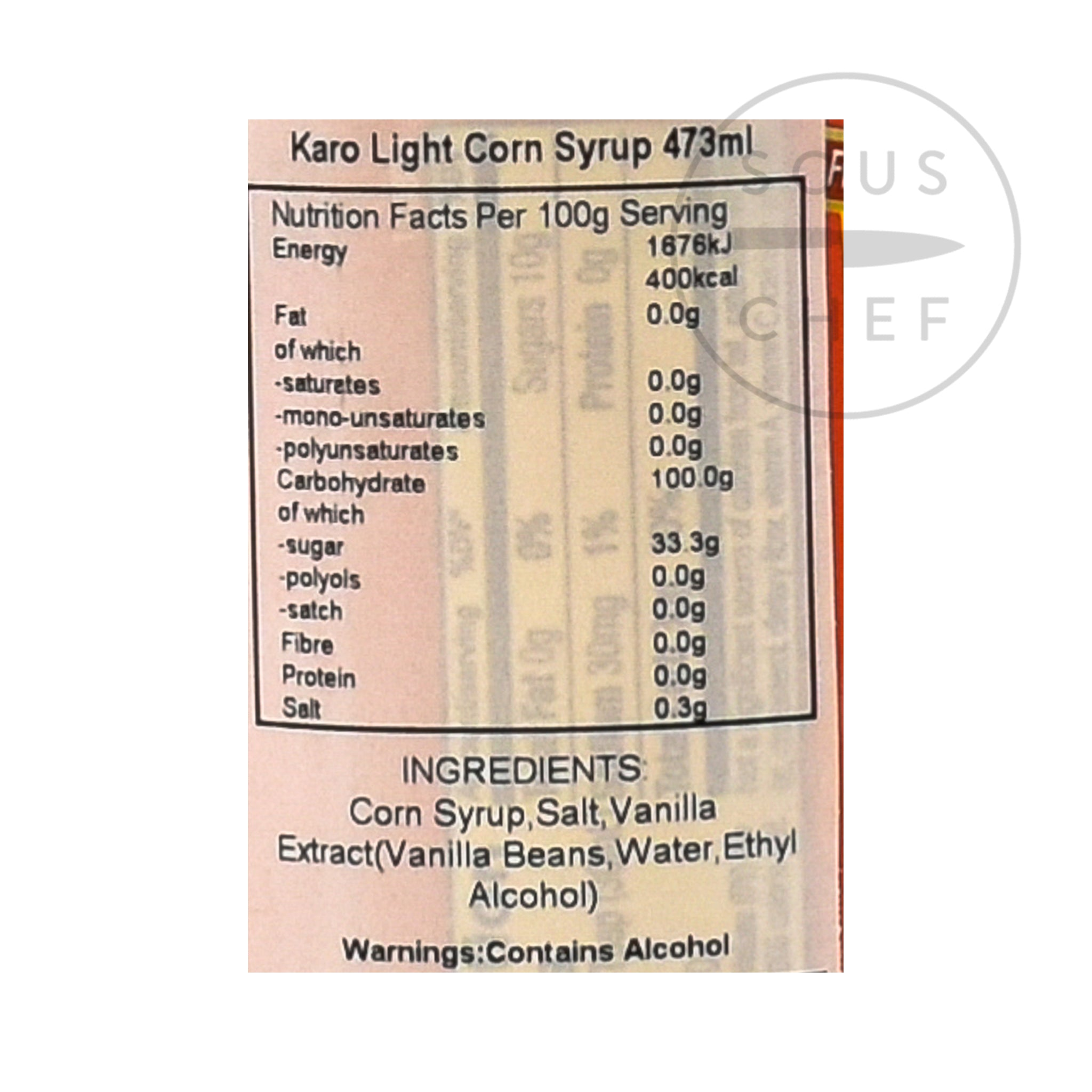 Karo Light Corn Syrup - Red 473ml  nutritional information ingredients