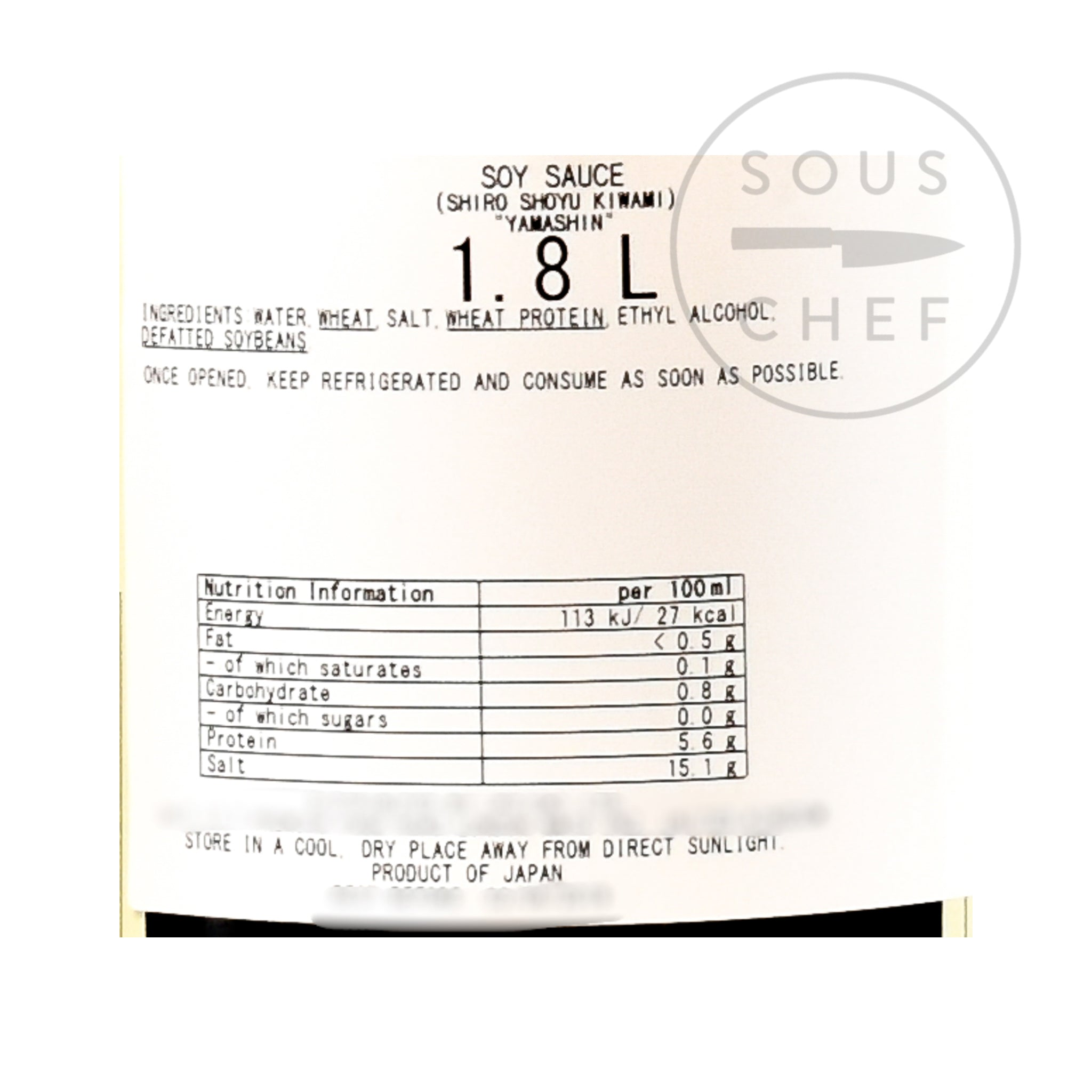 White Soy Sauce - Yamashin Shiro Shoyu 1.8l nutritional information ingredients