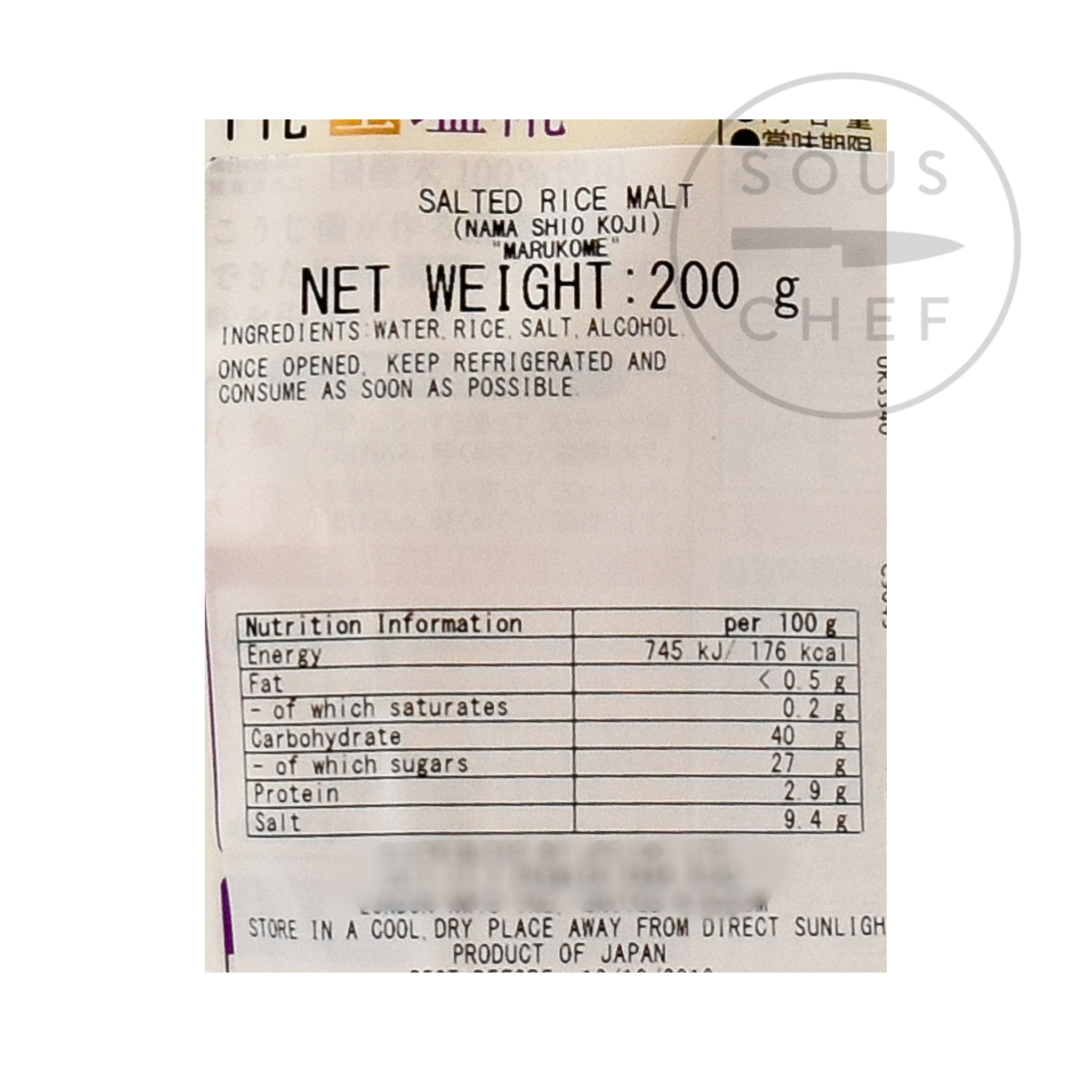 Marukome Nama Shio Koji 200g nutritional information ingredients
