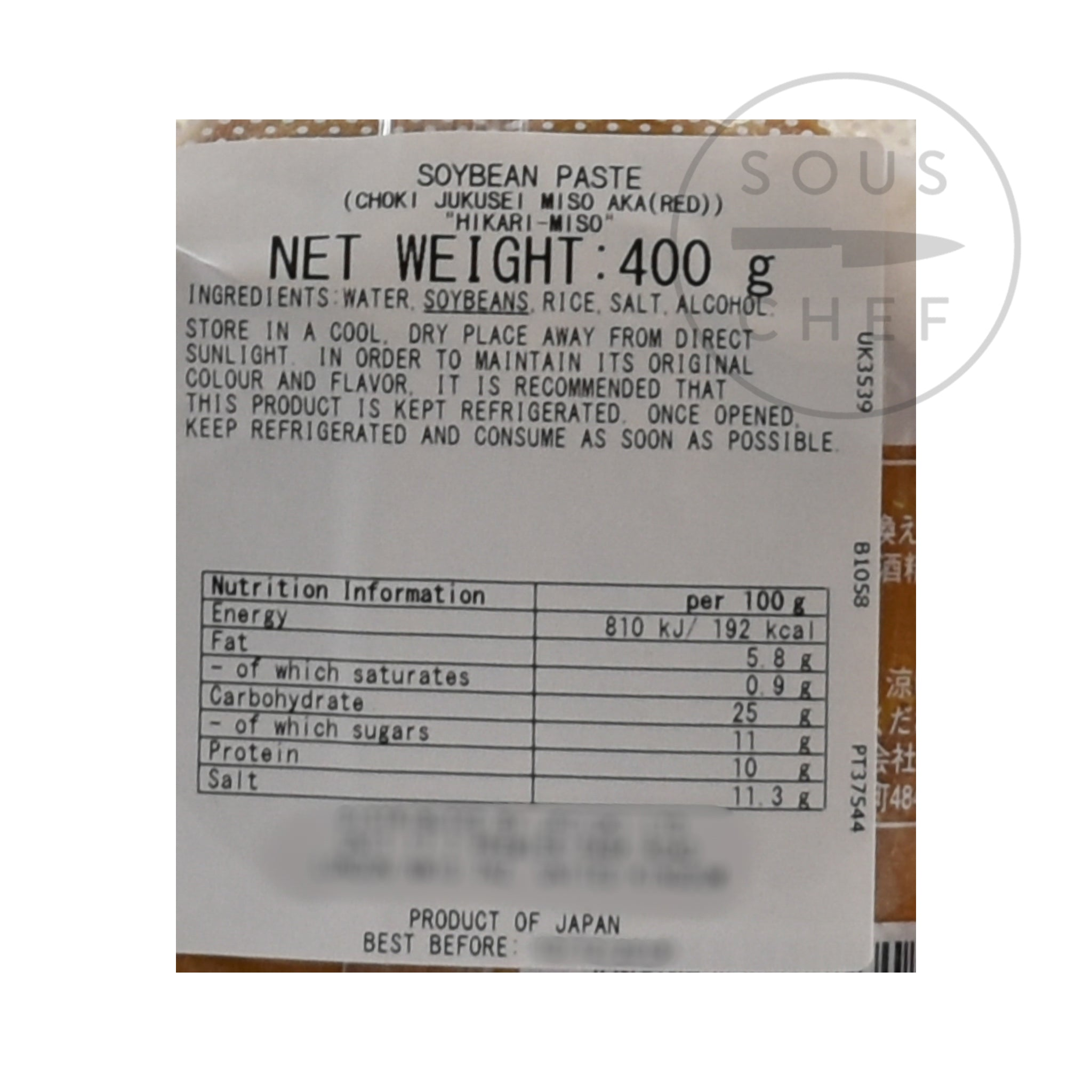 Red Miso Paste 400g nutritional information ingredients