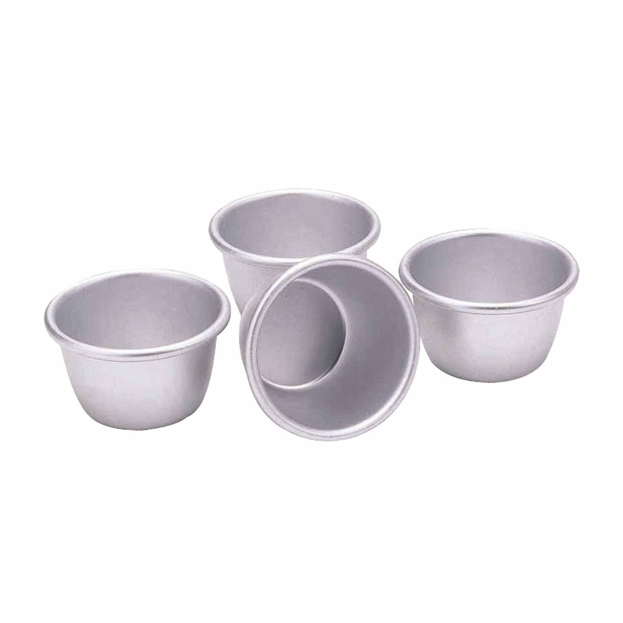 Set of 4 Anodised Mini Pudding Moulds