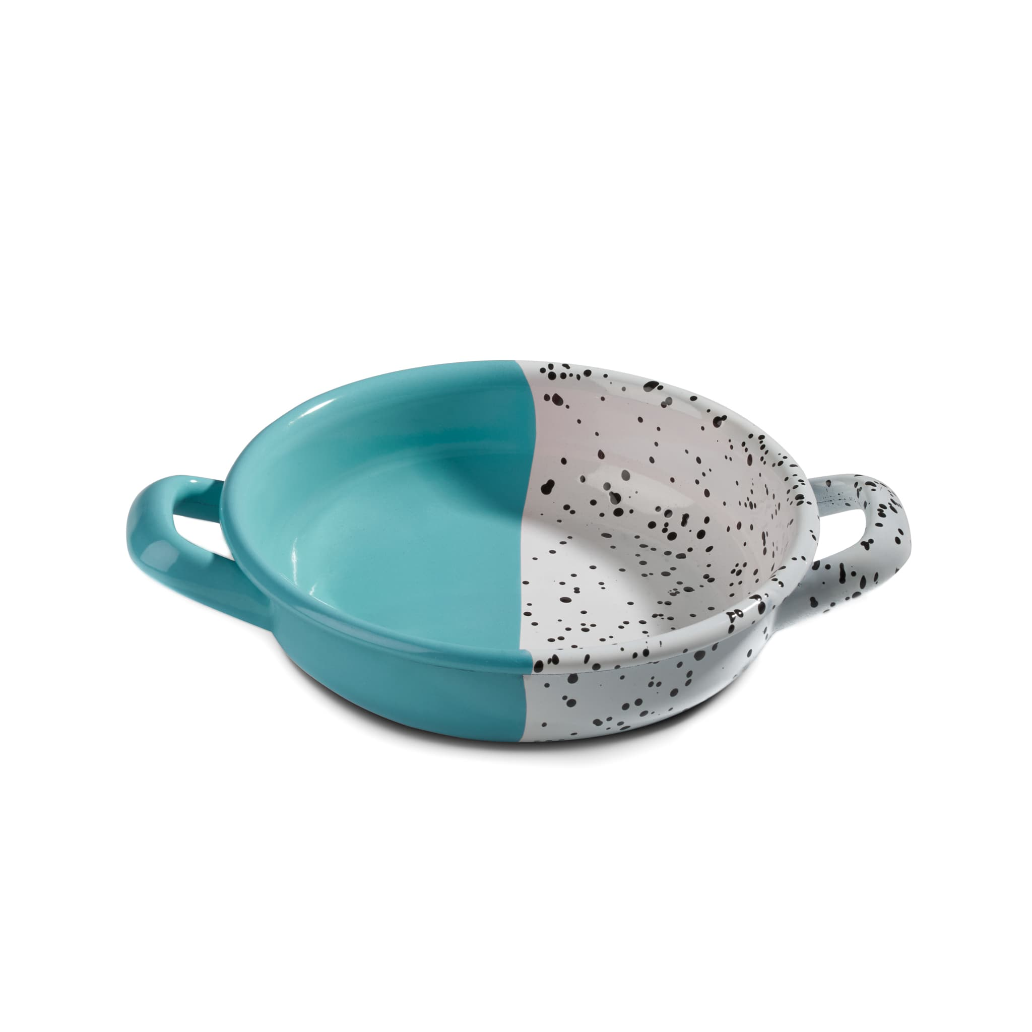 Kapka Colour Pop Enamel Frying Pan and Serving Dish Turquoise 16cm Turkish Oven to Tableware