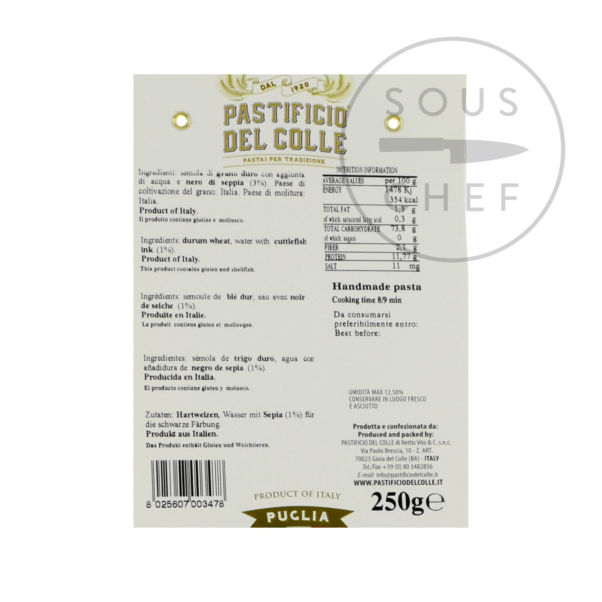 Pastificio Del Colle Squid Ink Striped Lingua 250g