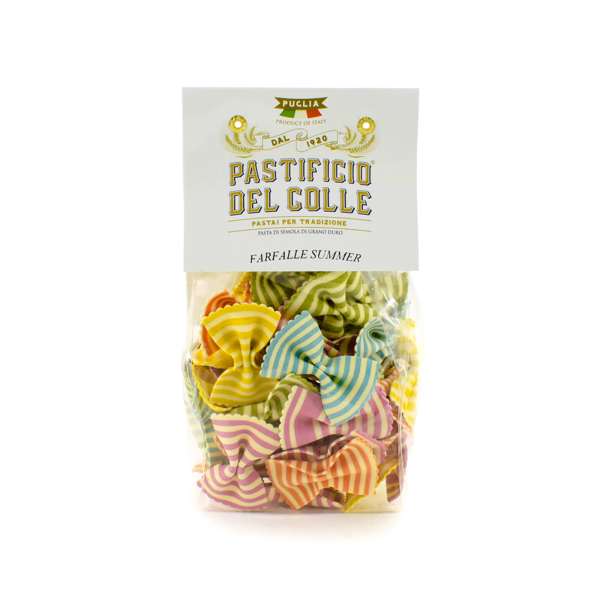 Pastificio Del Colle Rainbow Striped Farfalle 250g