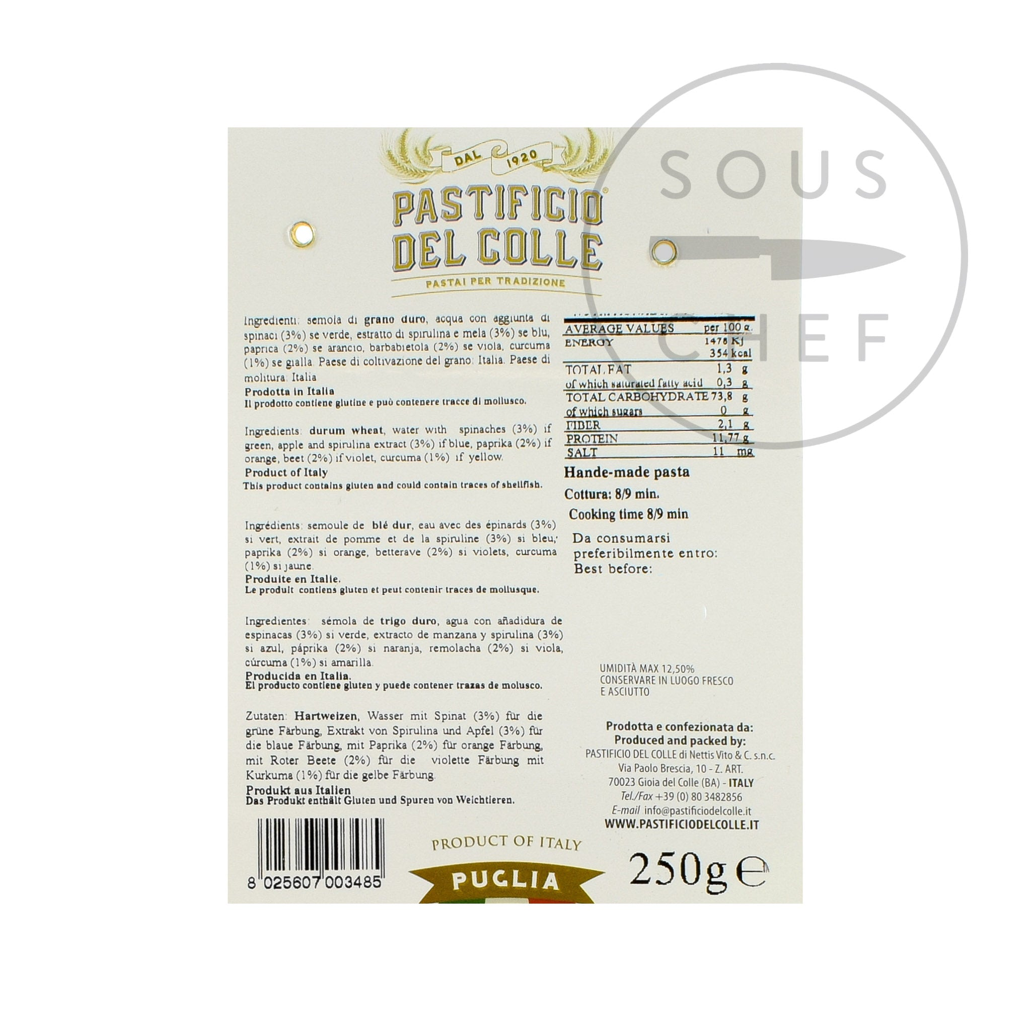 Pastificio Del Colle Rainbow Striped Sombreroni 250g