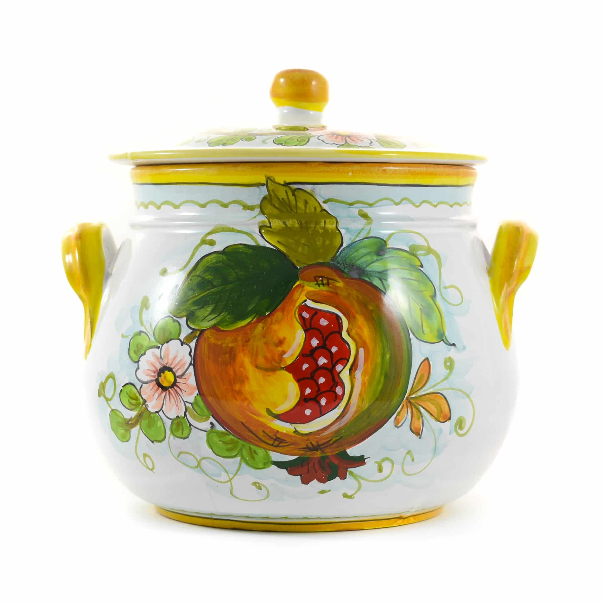 Pomegranate-Painted Terracotta Cooking Pot 20cm