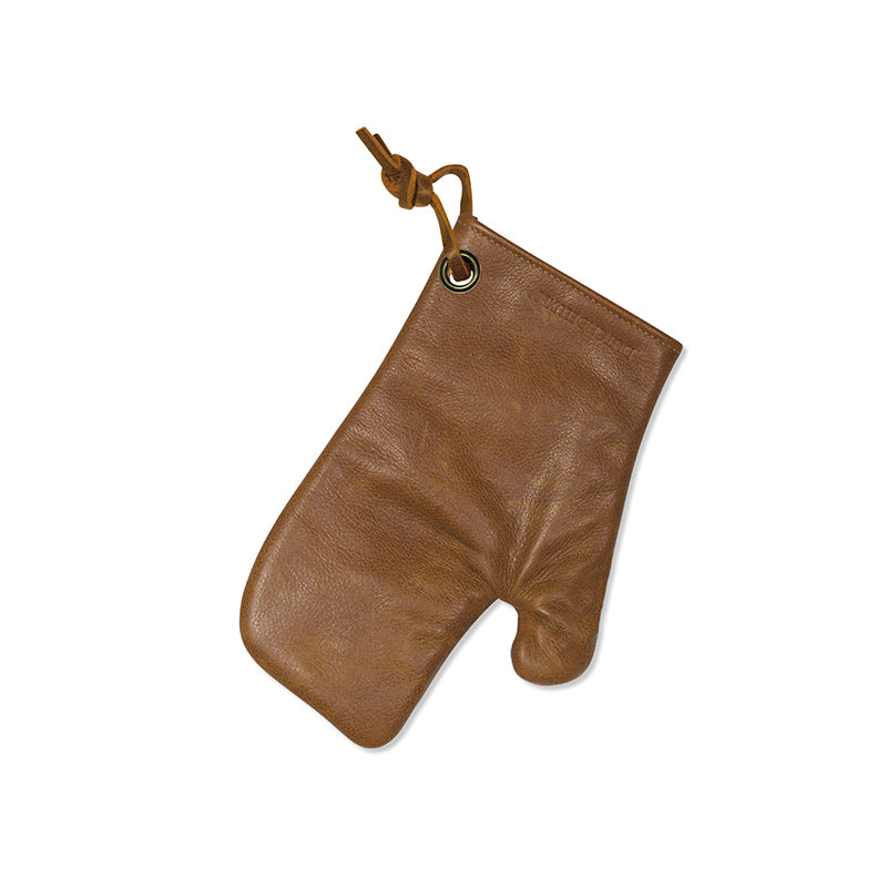 Dutchdeluxes Leather Oven Glove in Vintage Camel Cookware Kitchen Clothing
