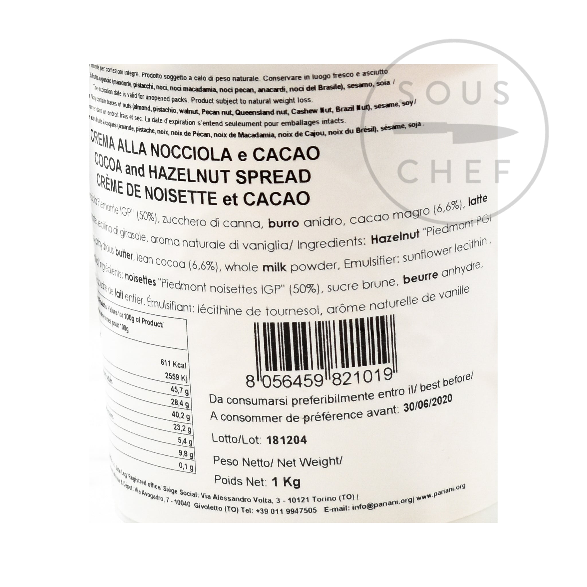 Italian Hazelnut Gianduja Paste 1kg