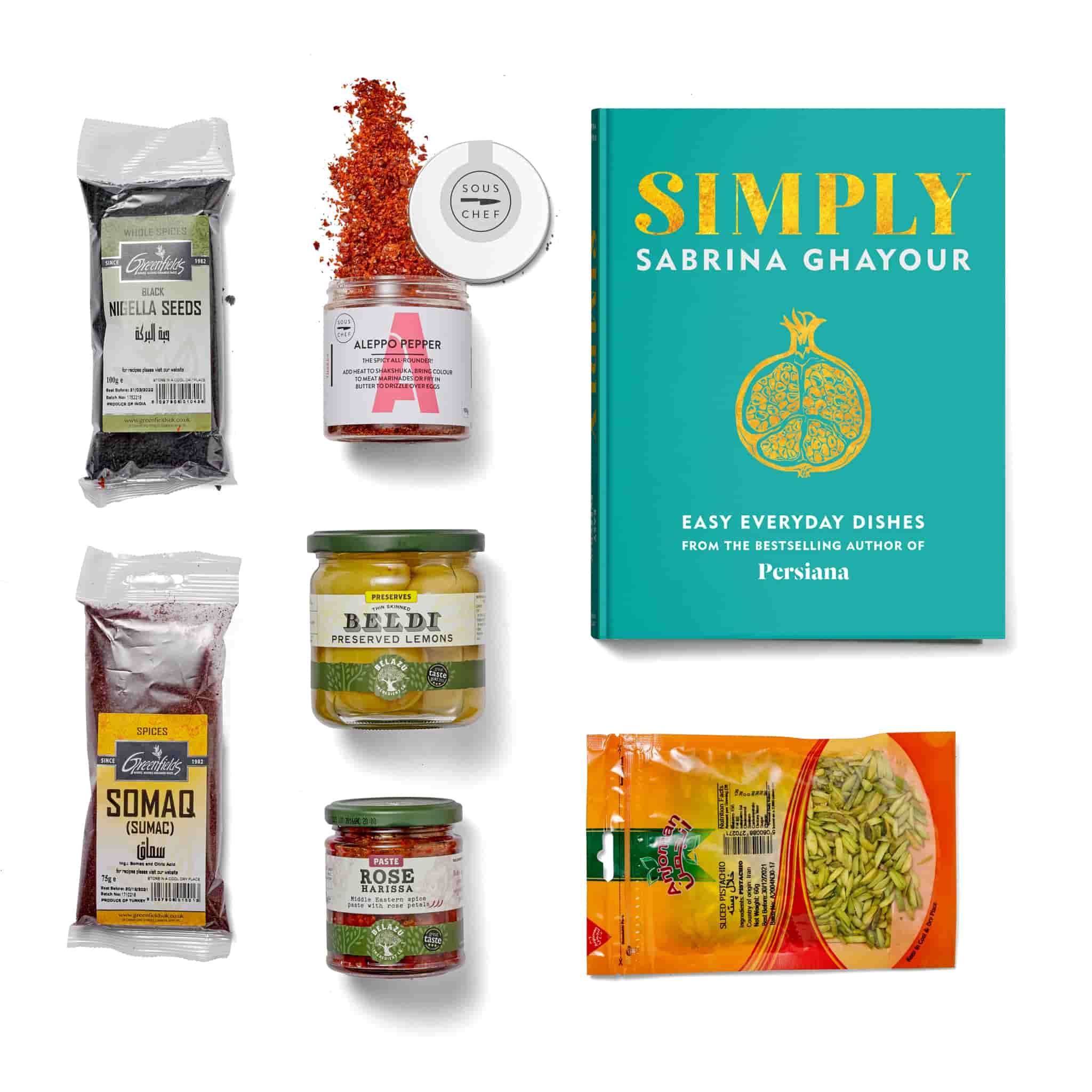 Sabrina Ghayour Simply Cookbook & Ingredients Set