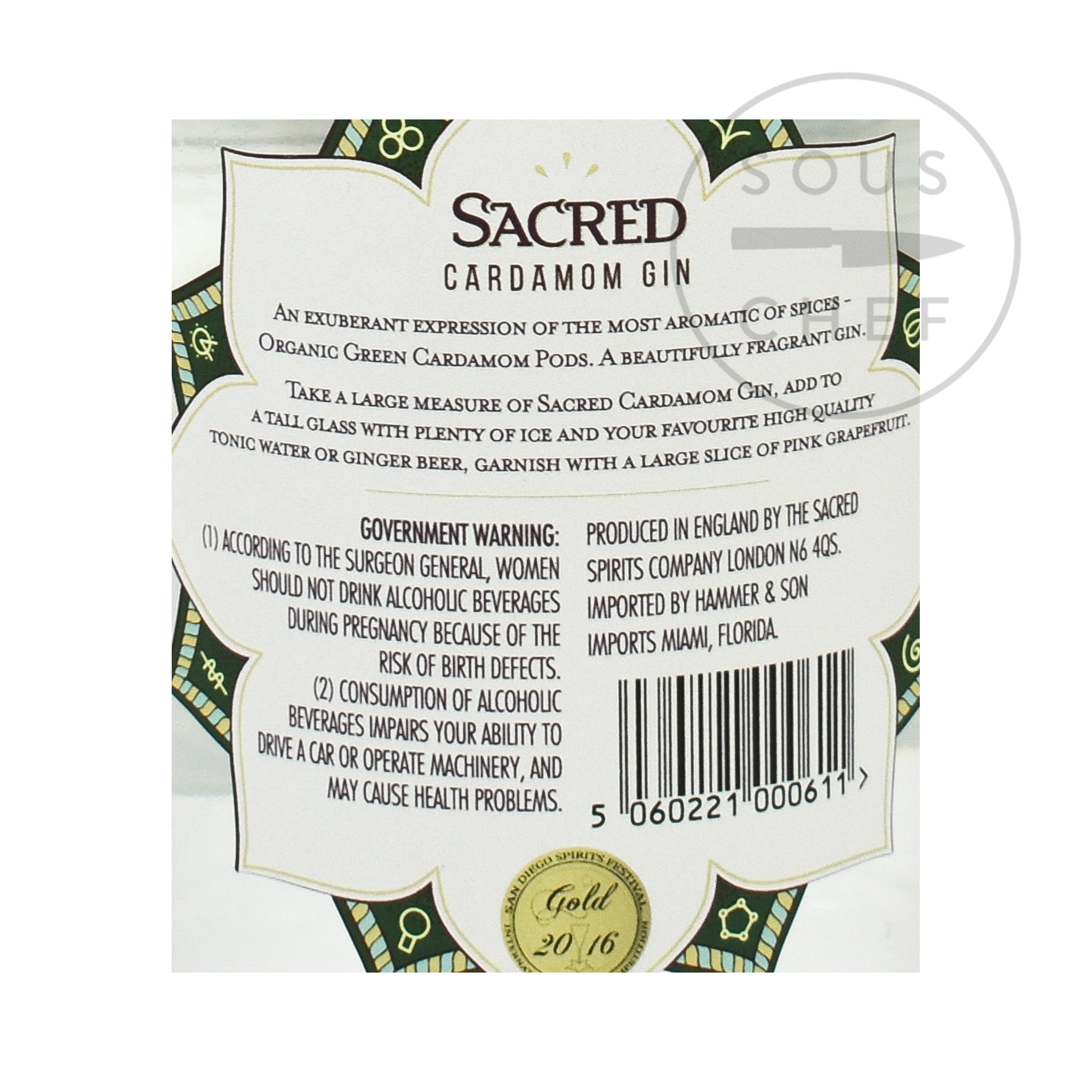 Sacred Spirits Sacred Cardamom Gin 70cl Ingredients Drinks Alcohol Ingredients Nutritional Information