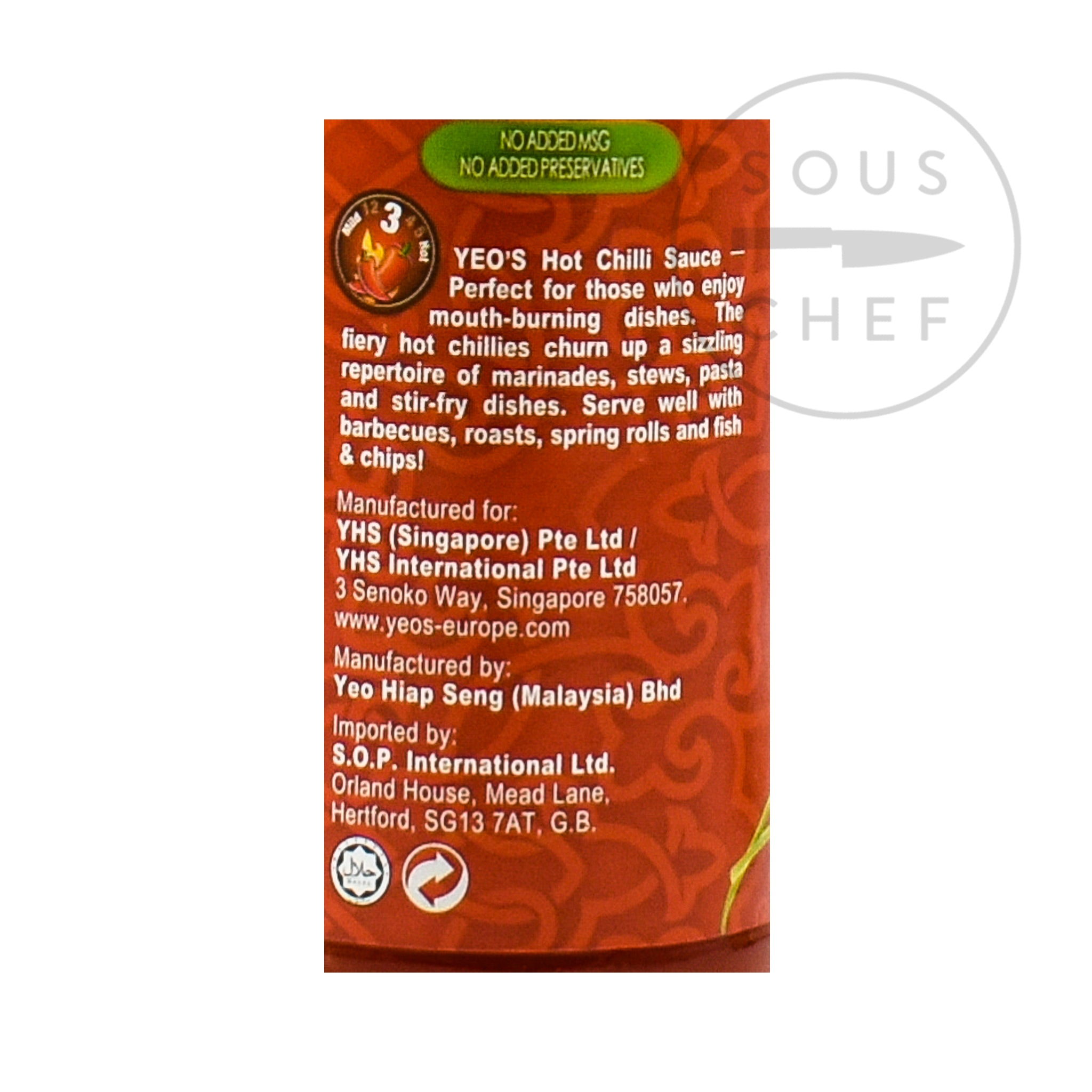Yeo's Hot Chilli Sauce 300ml Ingredients Sauces & Condiments Asian Sauces & Condiments Southeast Asian Food