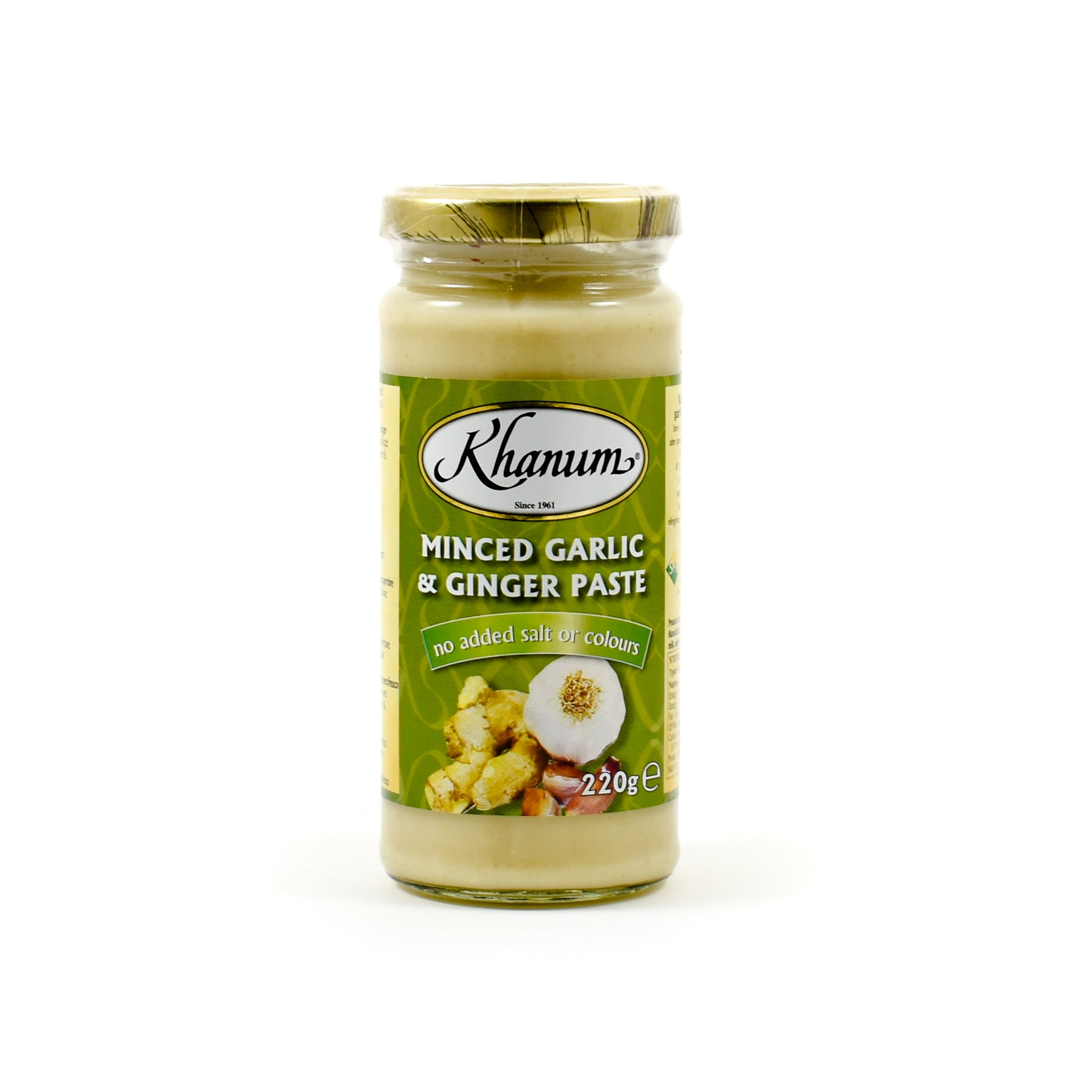 Khanum Minced Garlic & Ginger 220g Ingredients Sauces & Condiments Asian Sauces & Condiments Indian Food