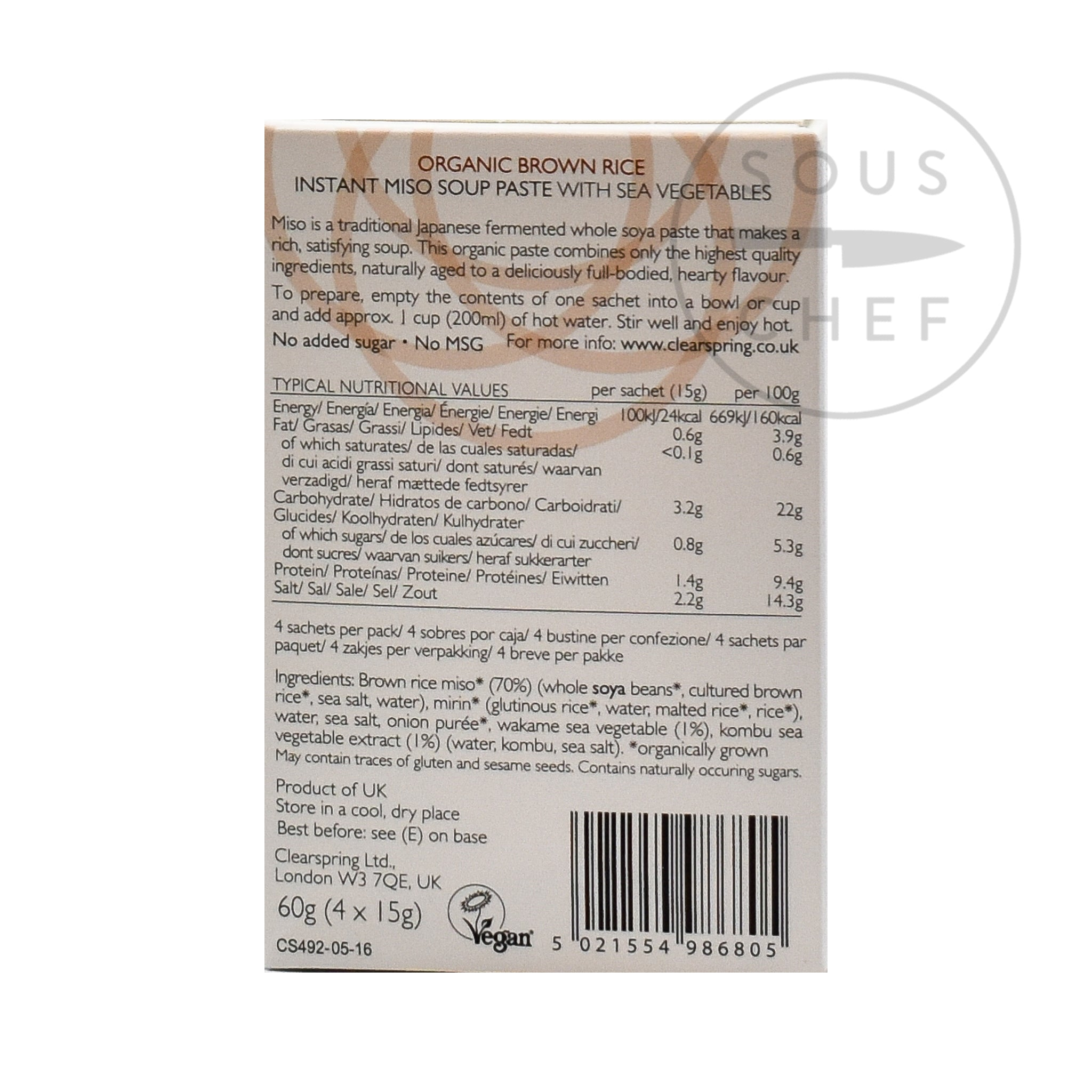 Clearspring Organic Instant Miso Soup Paste 15g