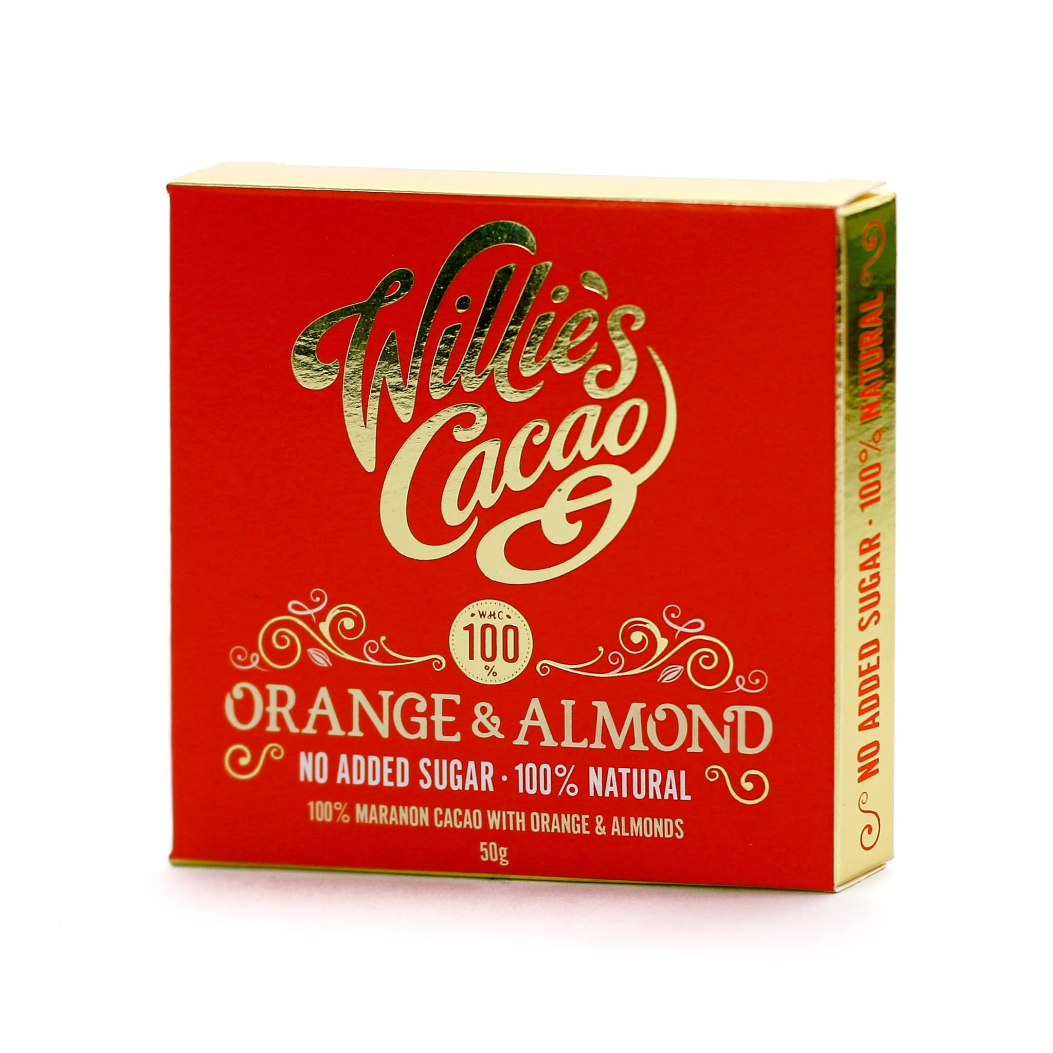 Willie's Cacao Orange & Almond 100% Dark Chocolate 50g