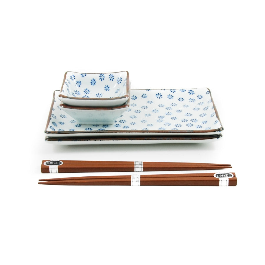 Kiji Stoneware & Ceramics Ao Hana Sushi Serving Set Tableware Japanese Tableware Japanese Food