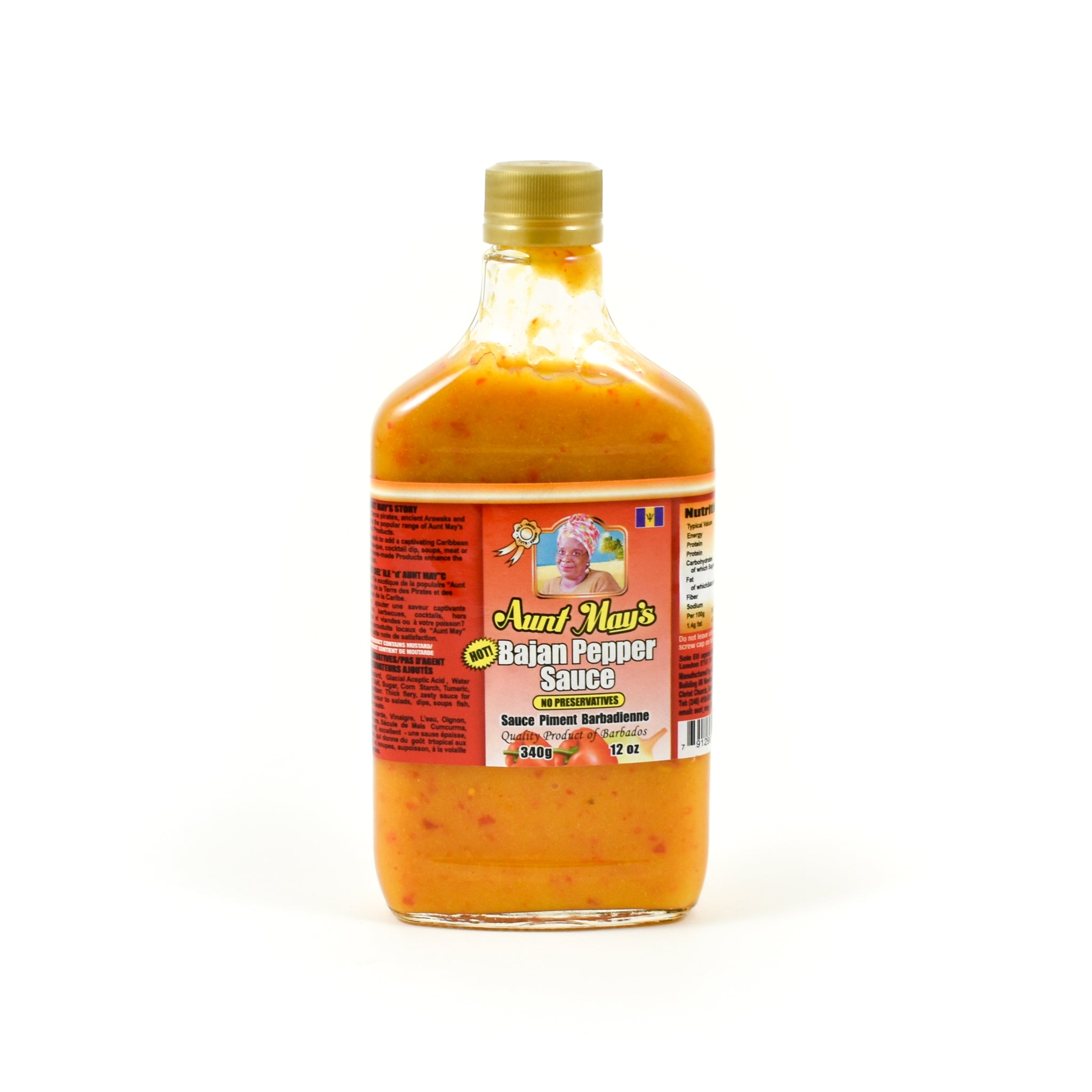 Aunt May's Bajan Pepper Sauce 340g Ingredients Sauces & Condiments American Sauces & Condiments