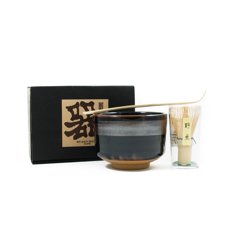 Kiji Stoneware & Ceramics Black Glaze Matcha Bowl Set Tableware Japanese Tableware Japanese Food