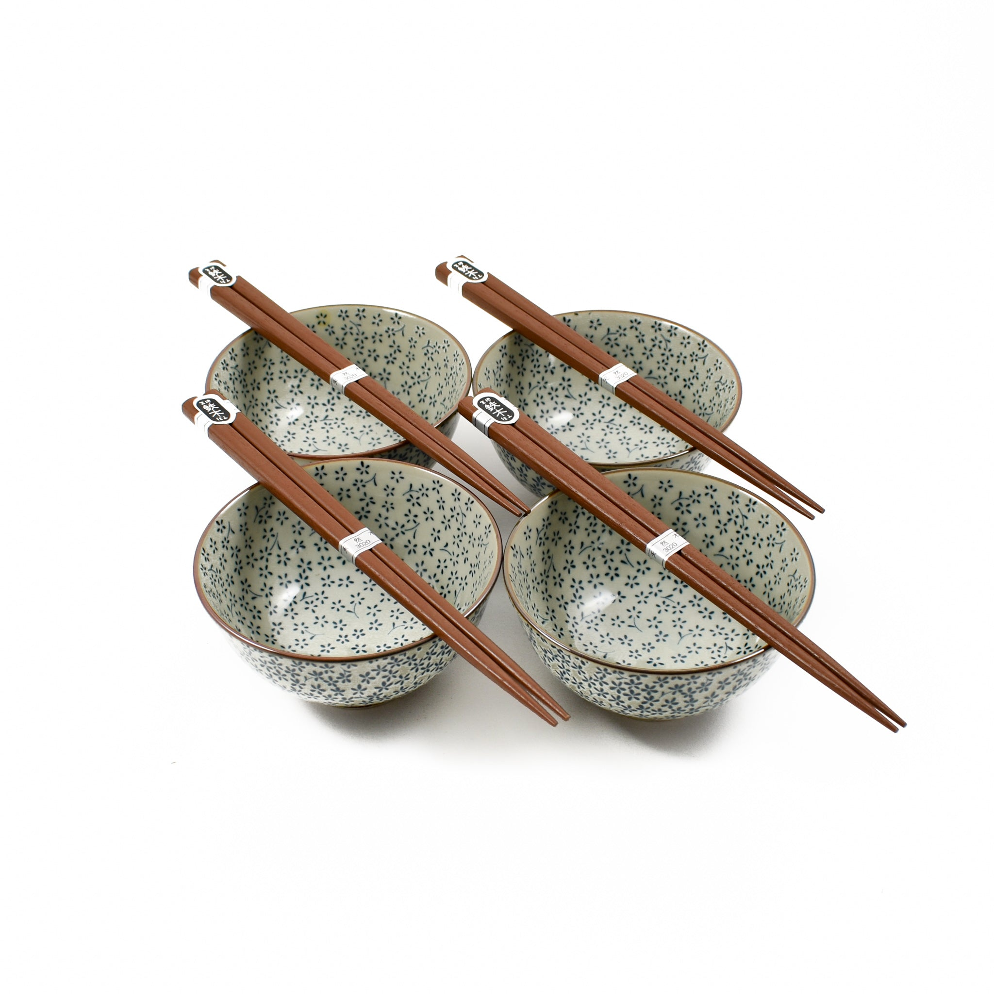 Kiji Stoneware & Ceramics Blue & White Flower Rice Bowl Set With Chopsticks Tableware Japanese Tableware Japanese Food
