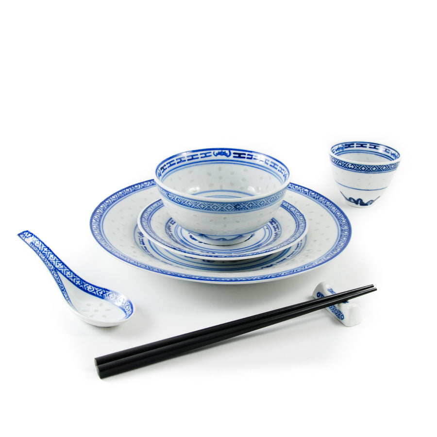 Chinese Tableware Blue Rice Pattern Dinner Plate 23cm Tableware Chinese Tableware Chinese Food