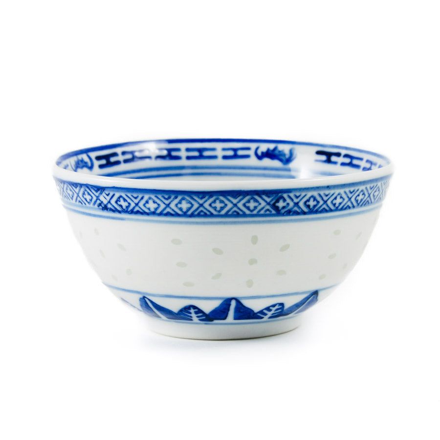 Chinese Tableware Blue Rice Pattern Rice Bowl 11.5cm Tableware Chinese Tableware Chinese Food