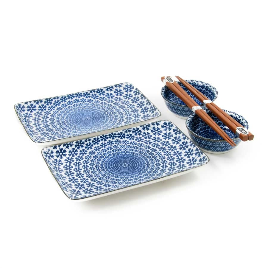 Kiji Stoneware & Ceramics Blue Star Sushi Serving Set Tableware Japanese Tableware Japanese Food